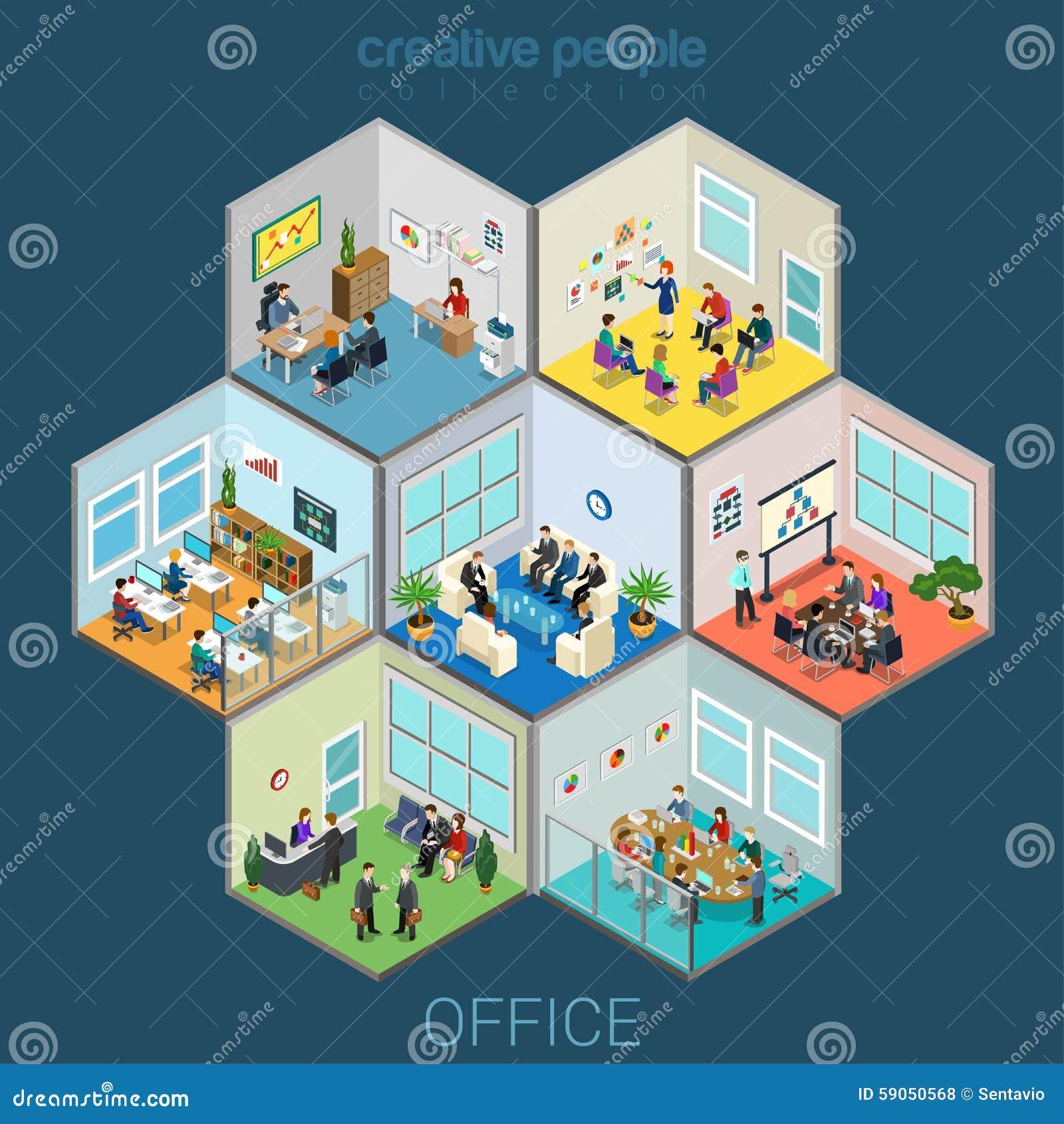 Células interiores de sitio de la oficina
