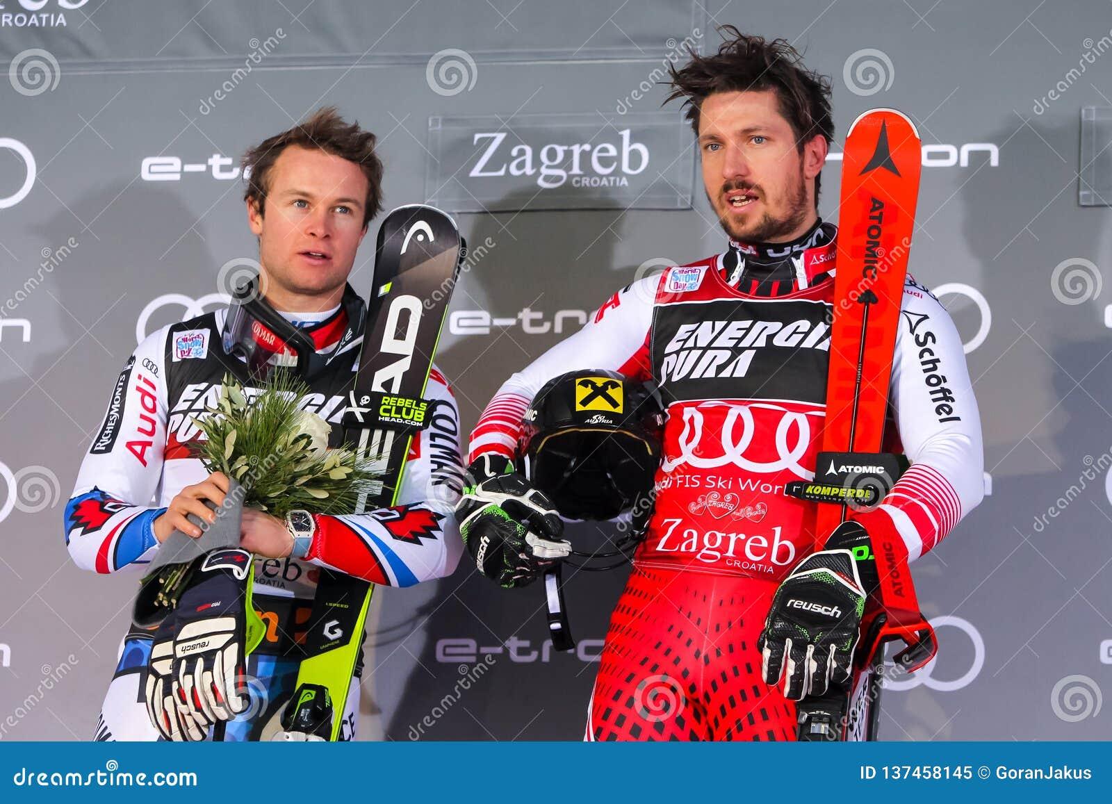Cérémonie de remise des prix du slalom des hommes du trophée 2019 de la Reine de neige