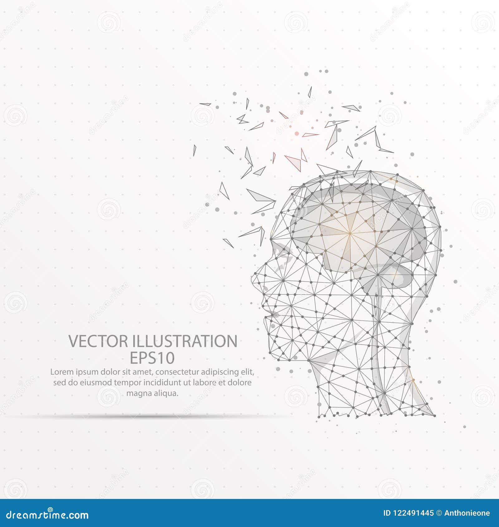 Cérebro com quadro poli do fio da cabeça humana baixo no fundo branco