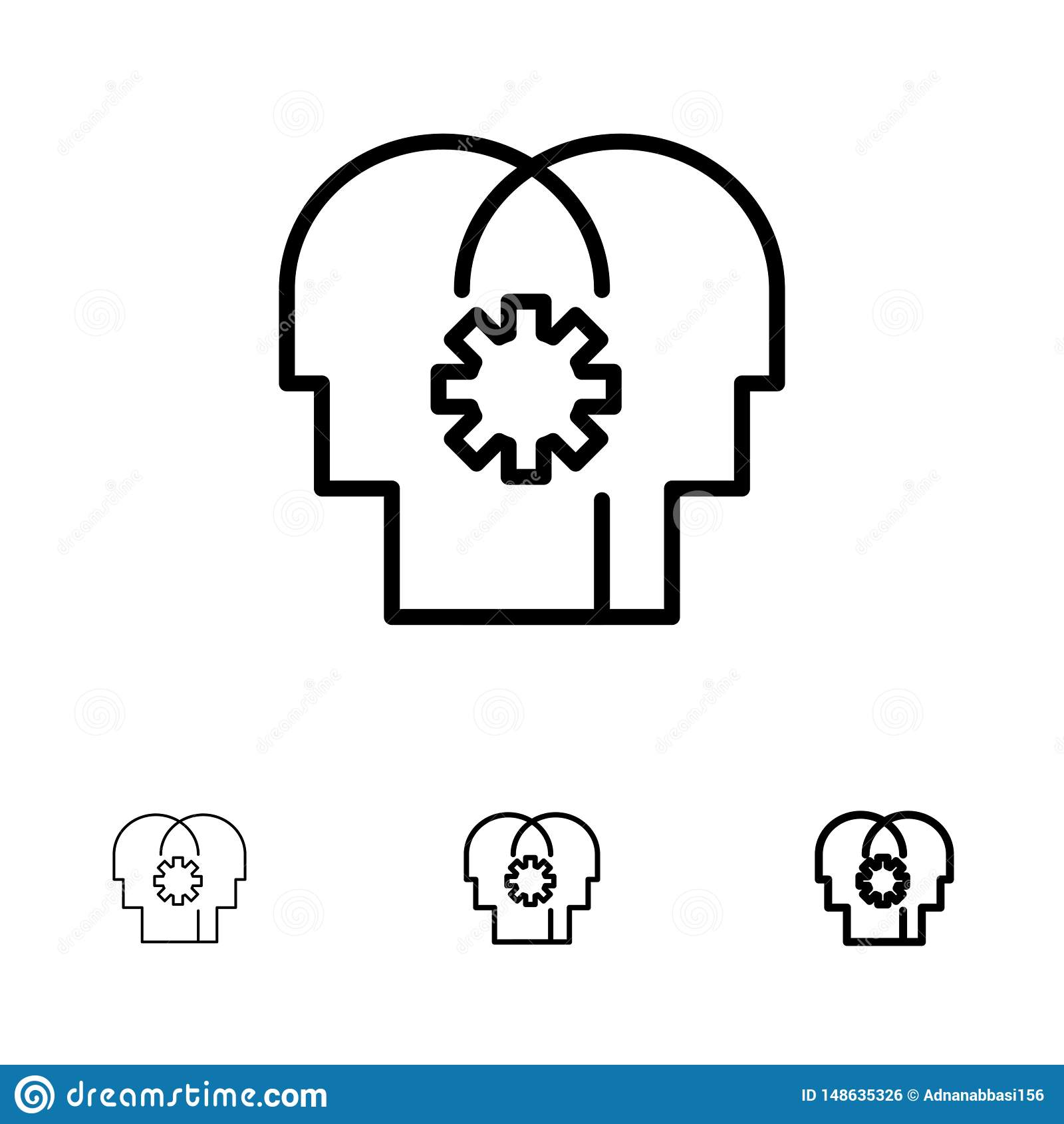 Cérebro, controle, mente, ajustando a linha preta corajosa e fina grupo do ícone