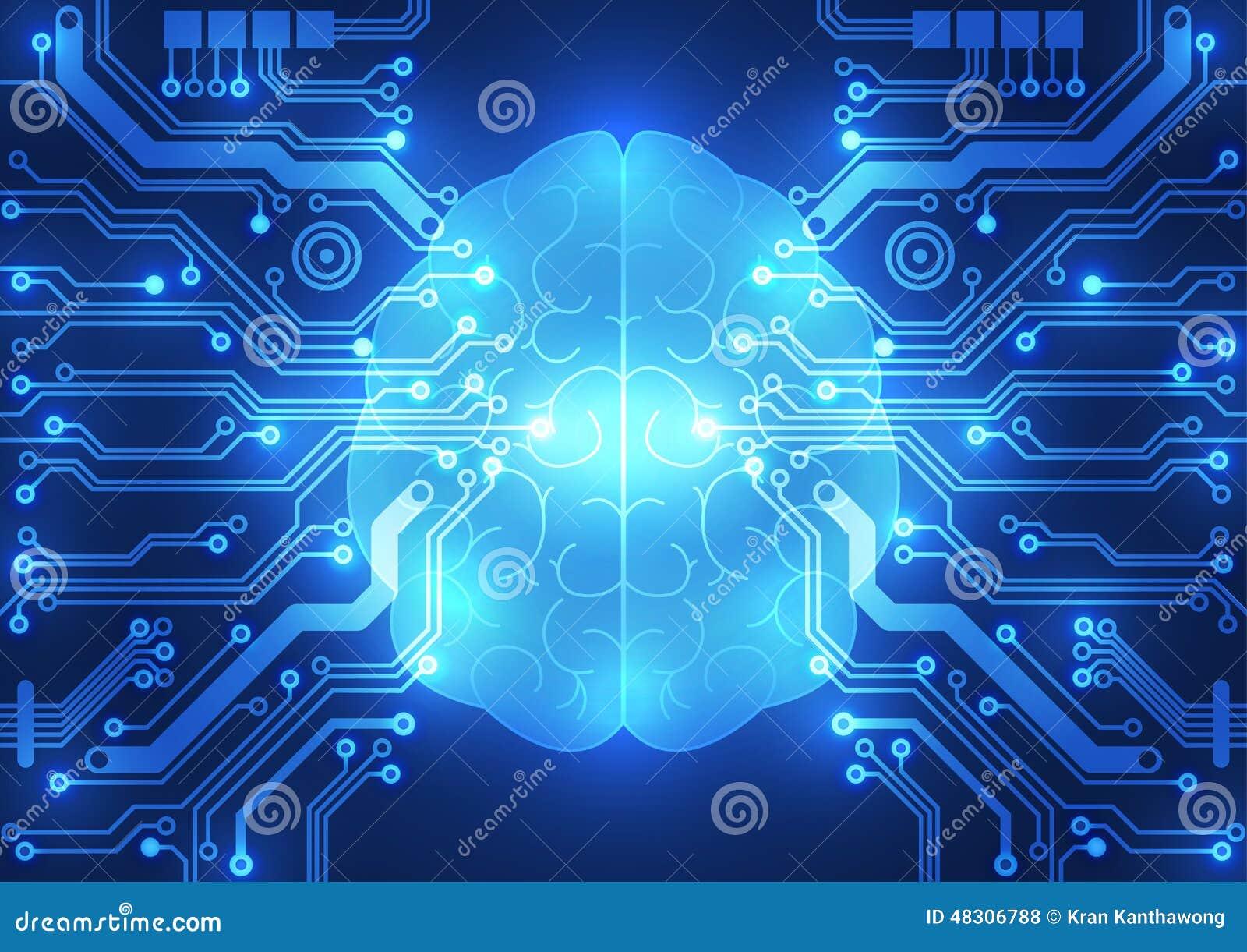 Cérebro digital abstrato do circuito bonde, conceito da tecnologia