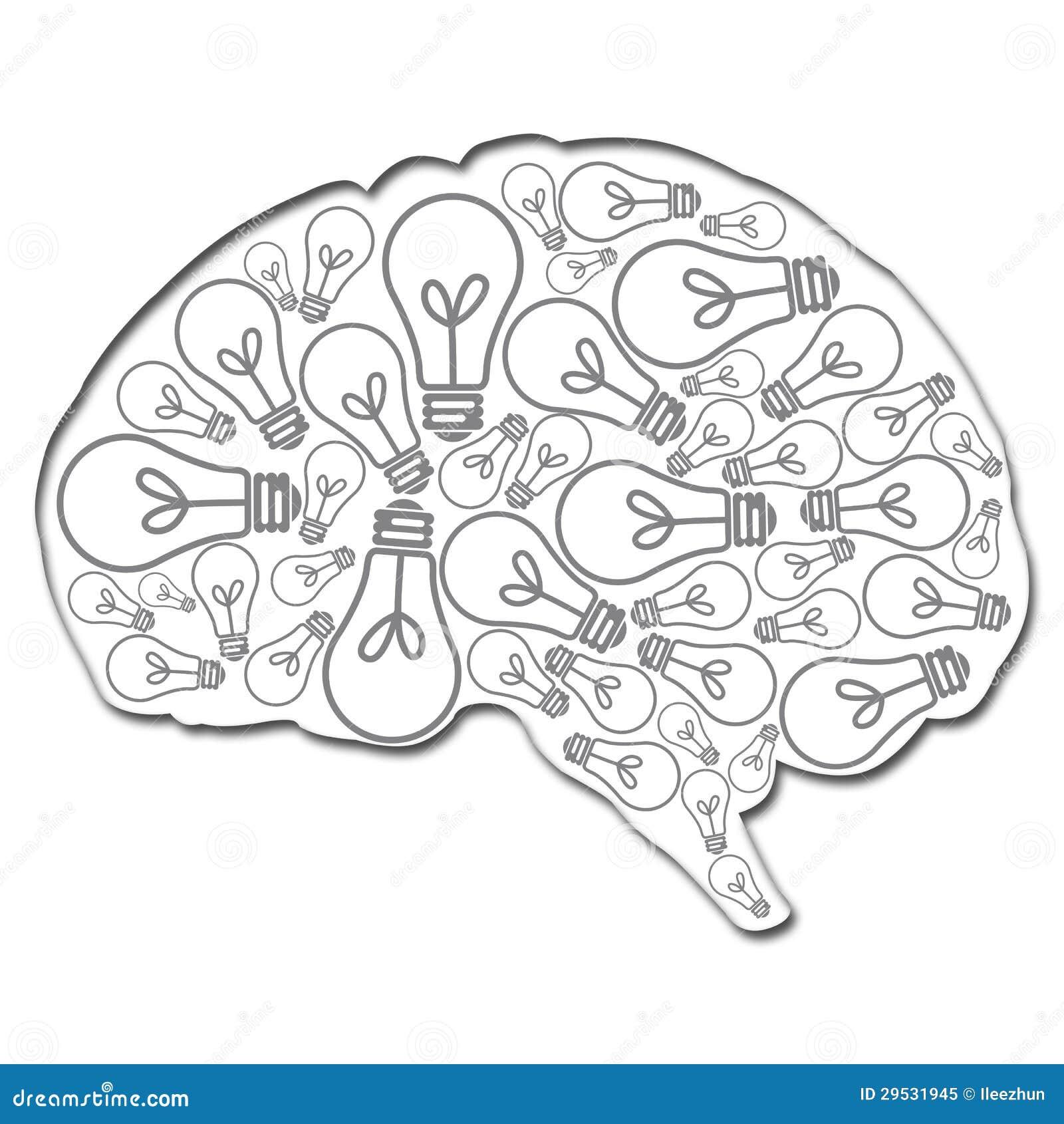Cérebro enchido com as ideias