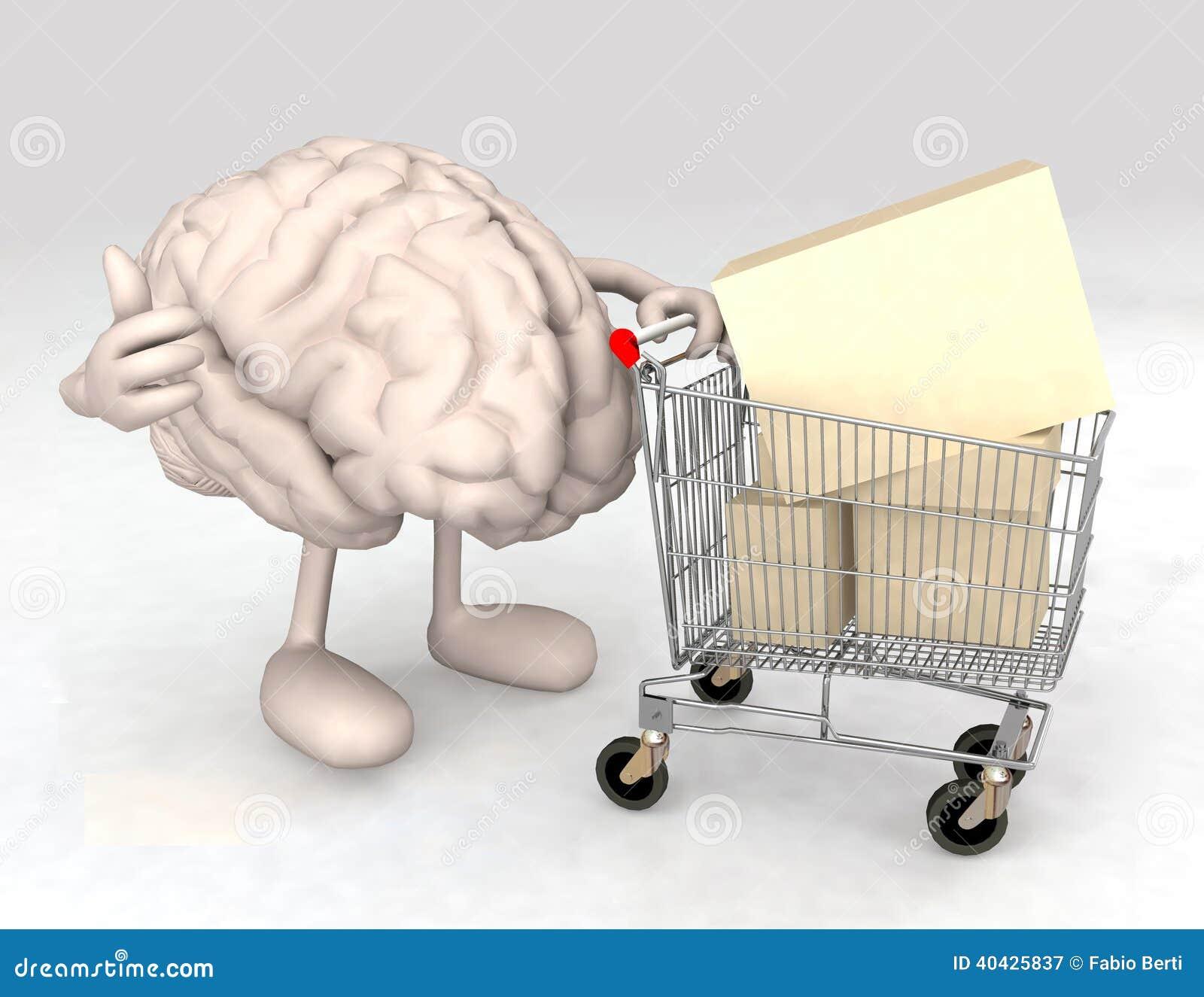Cérebro humano com um carrinho de compras