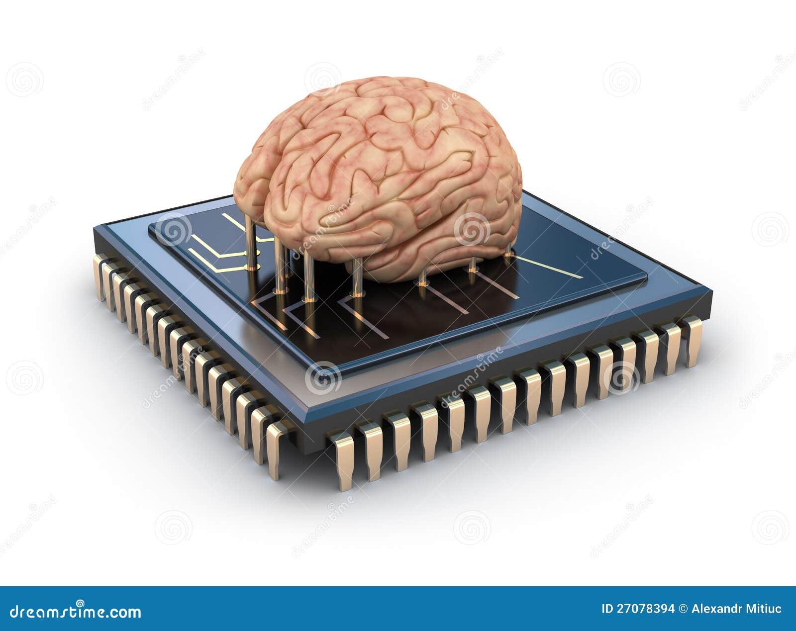 Cérebro humano e chip de computador