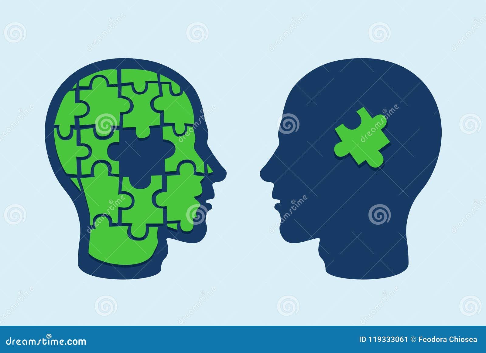 Cérebro principal do enigma Perfis da cara entre si com a uma parte faltante da serra de vaivém cortada