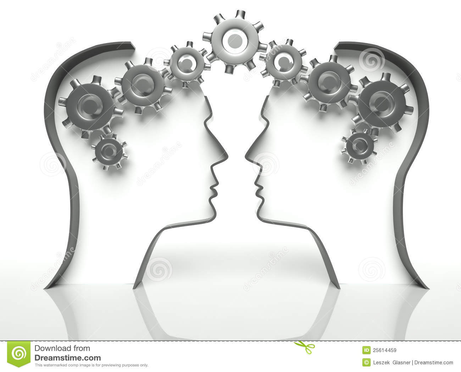 Cérebros e engrenagens na cabeça, conceito de uma comunicação
