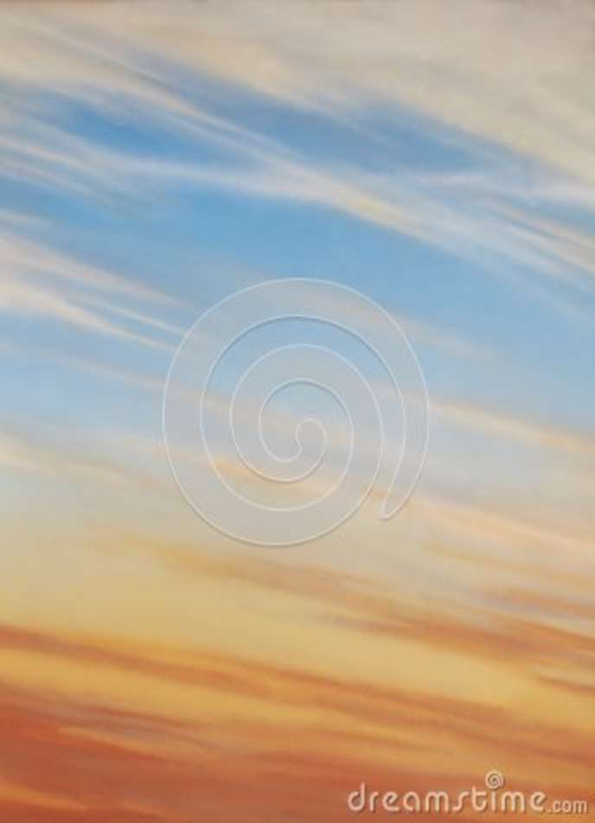 Céu azul com nuvens e por do sol de cirro