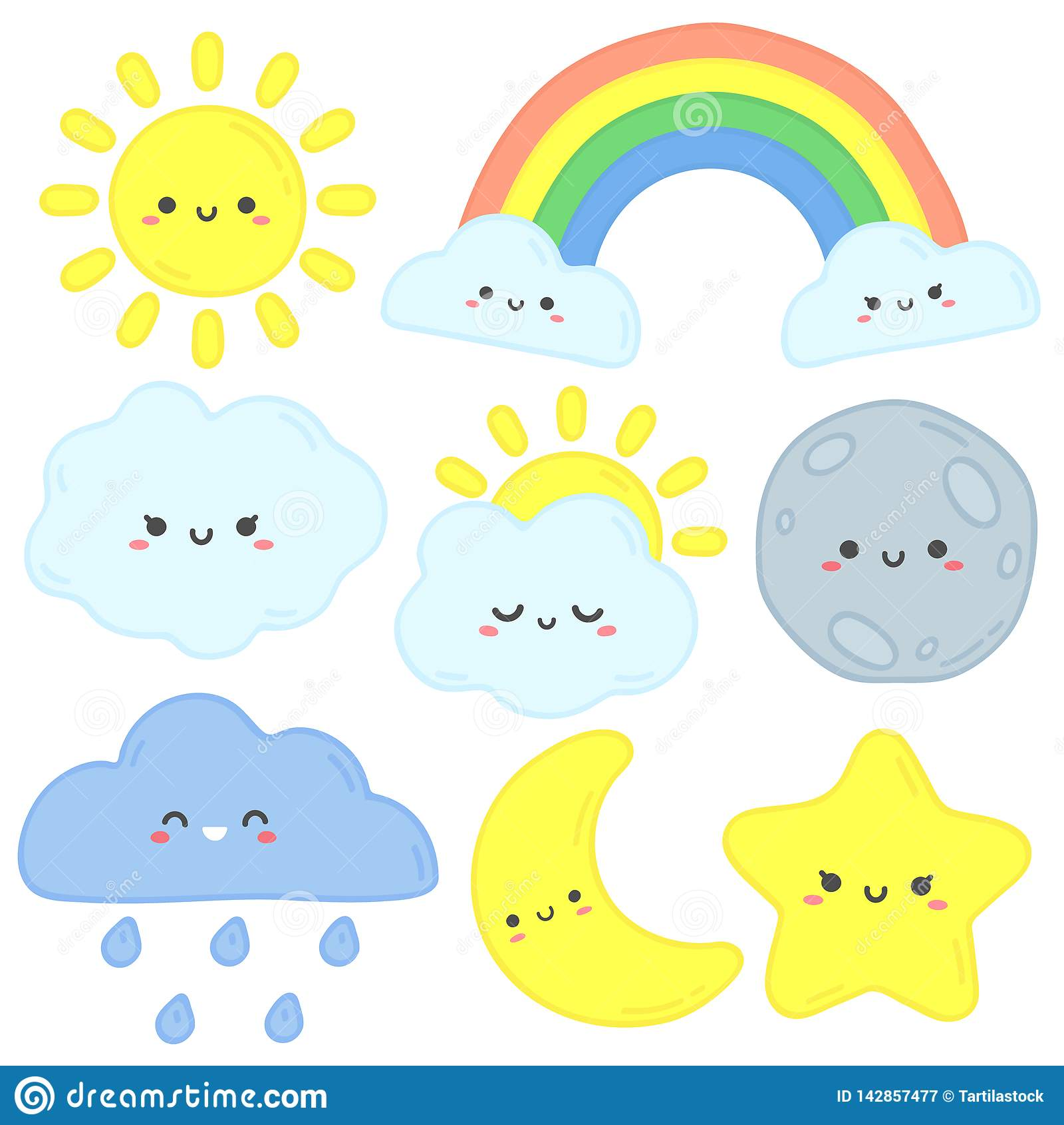 Céu bonito Sol feliz, lua engraçada e estrela tirada mão Nuvens do sono do berçário, arco-íris do bebê e vetor dos desenho