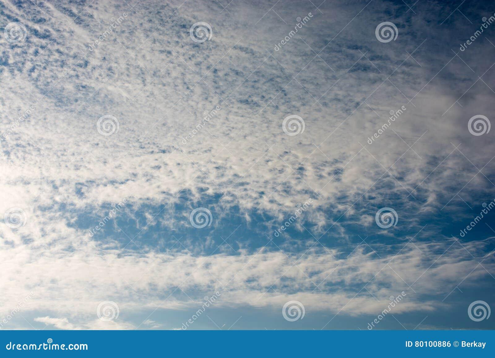 Céu com as nuvens brancas e azuis