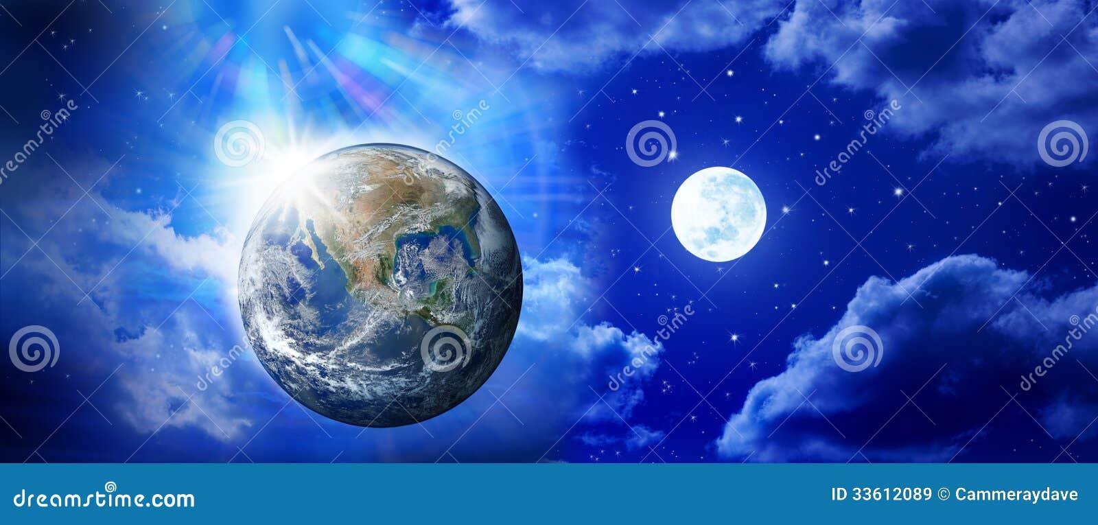 Céu da lua da terra do panorama
