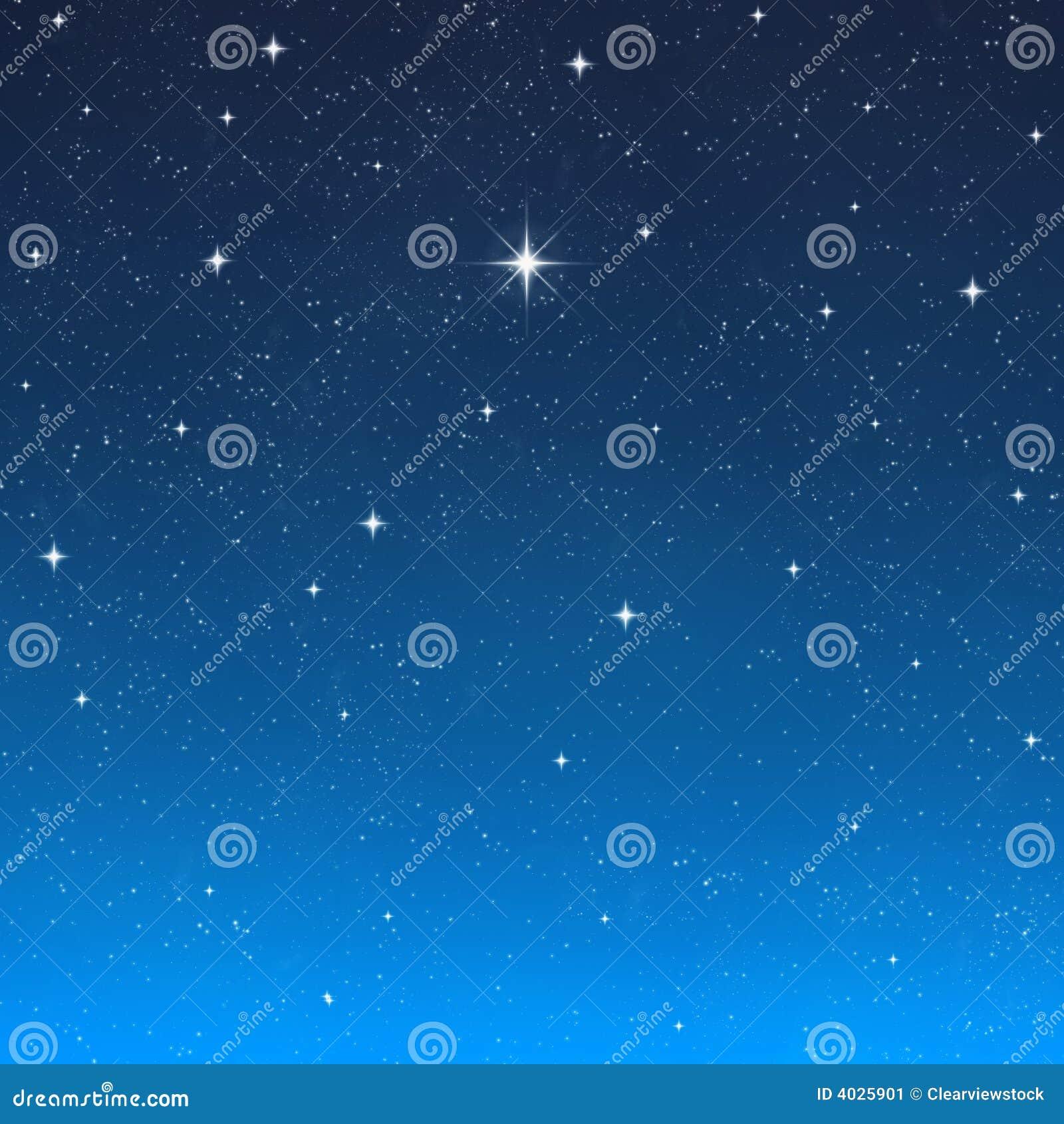 Céu nocturno de desejo brilhante da estrela