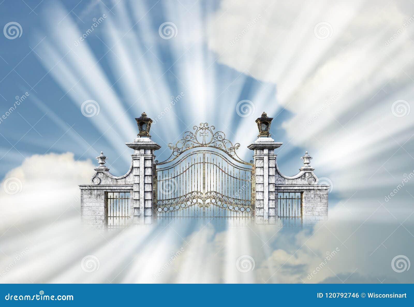 Céu, portas perolados, porta, religião, deus