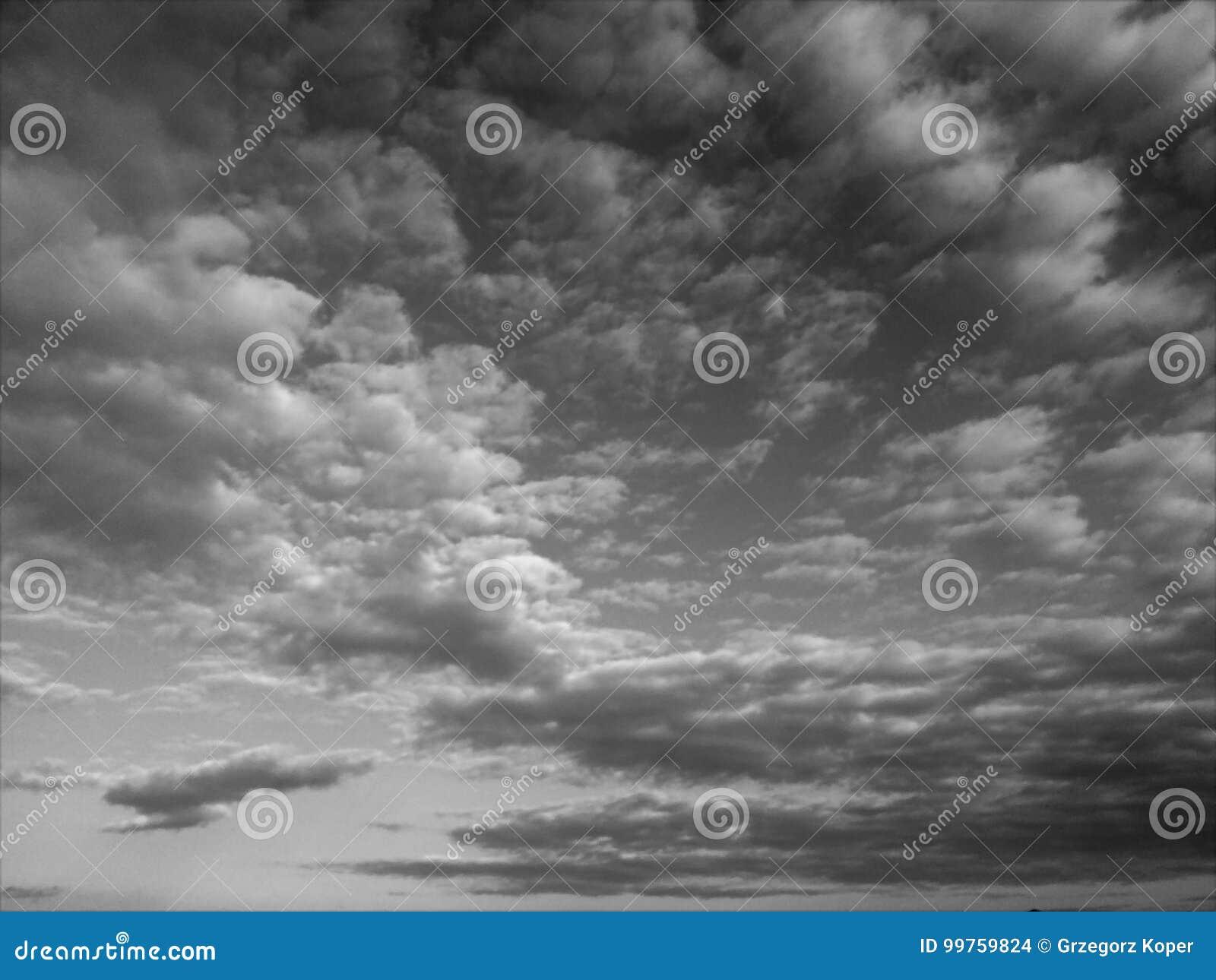 Céu, preto e branco, nuvens
