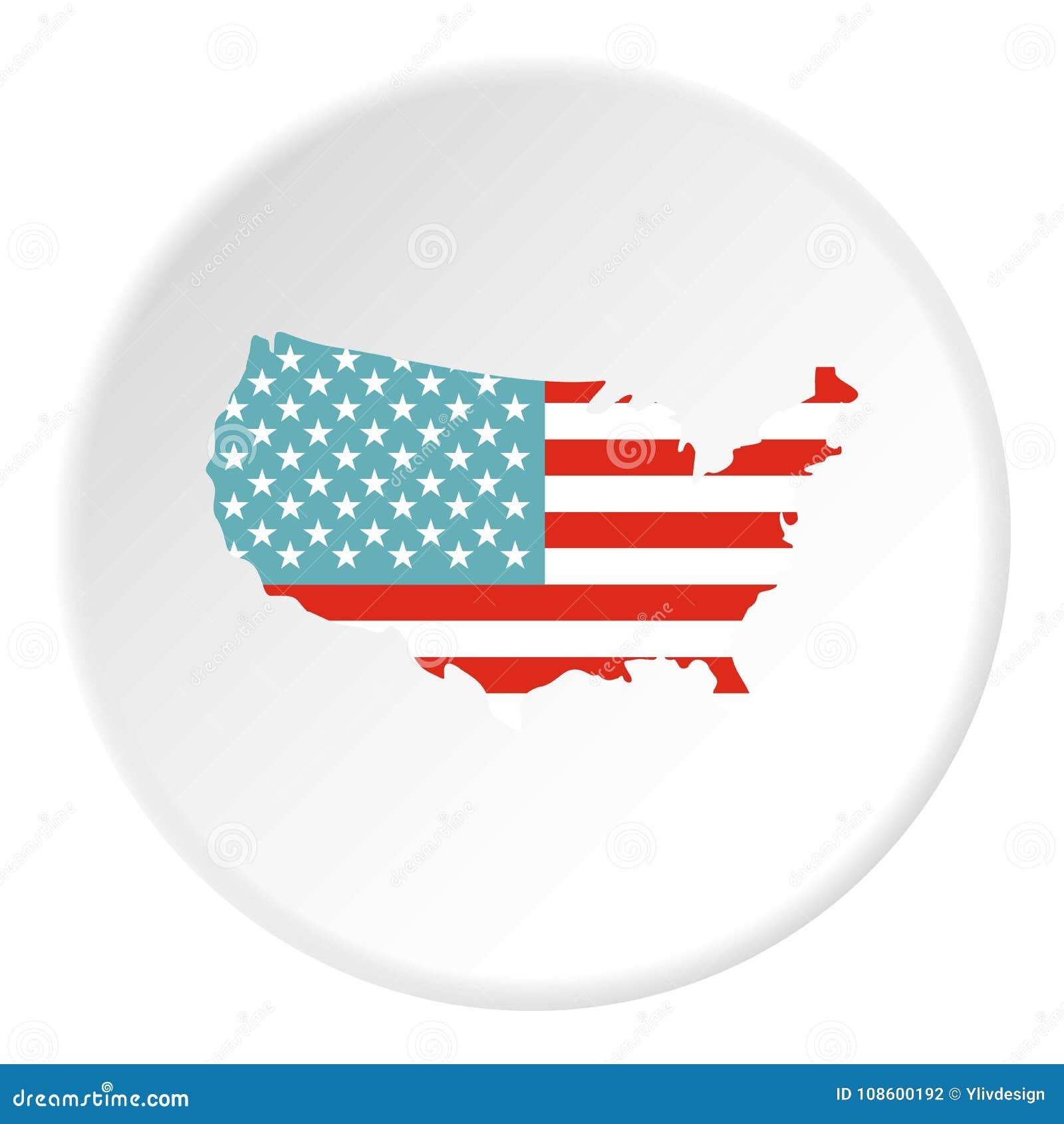Círculo Americano Del Icono Del Mapa Ilustración del Vector ...