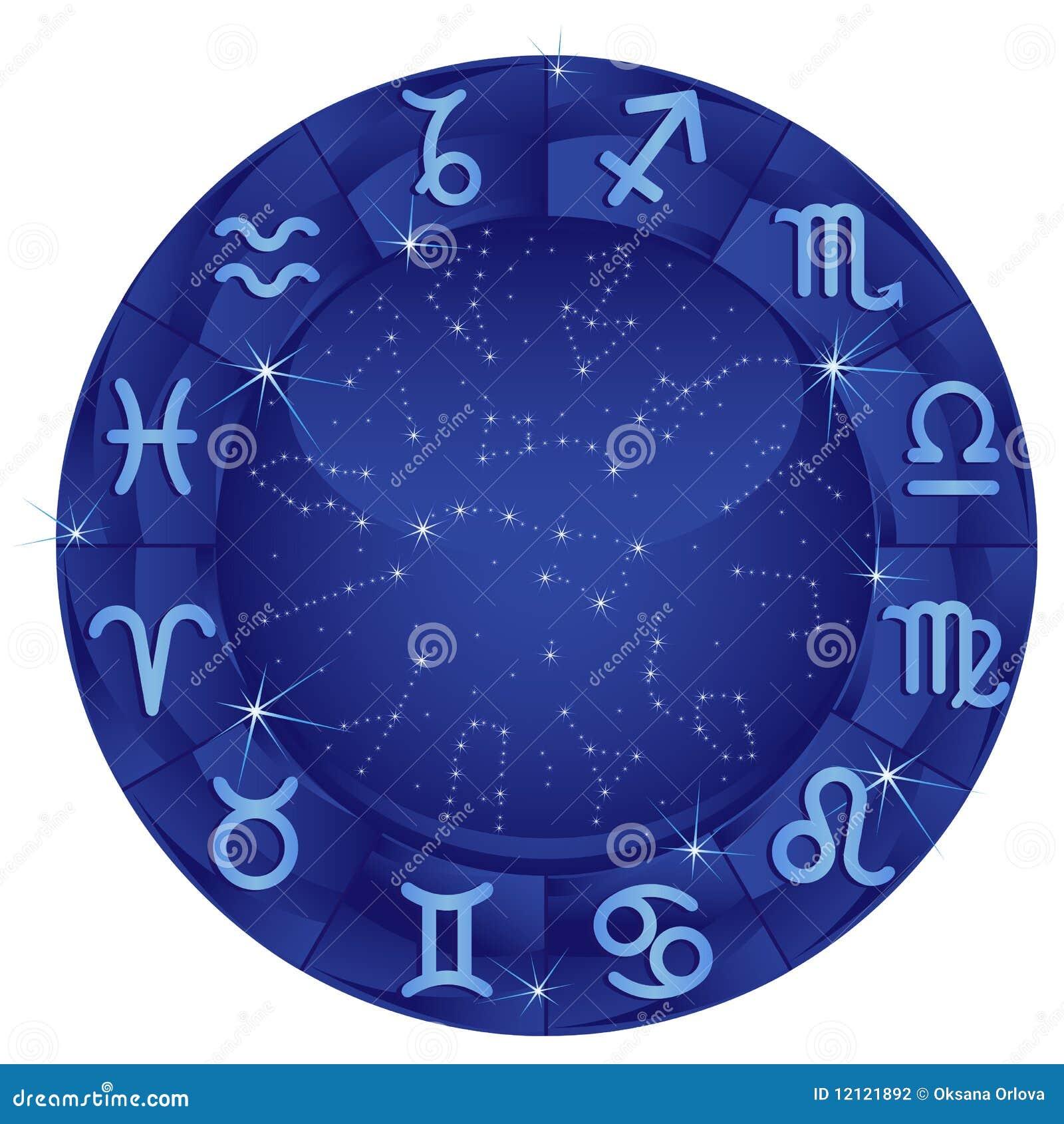Círculo azul del zodiaco