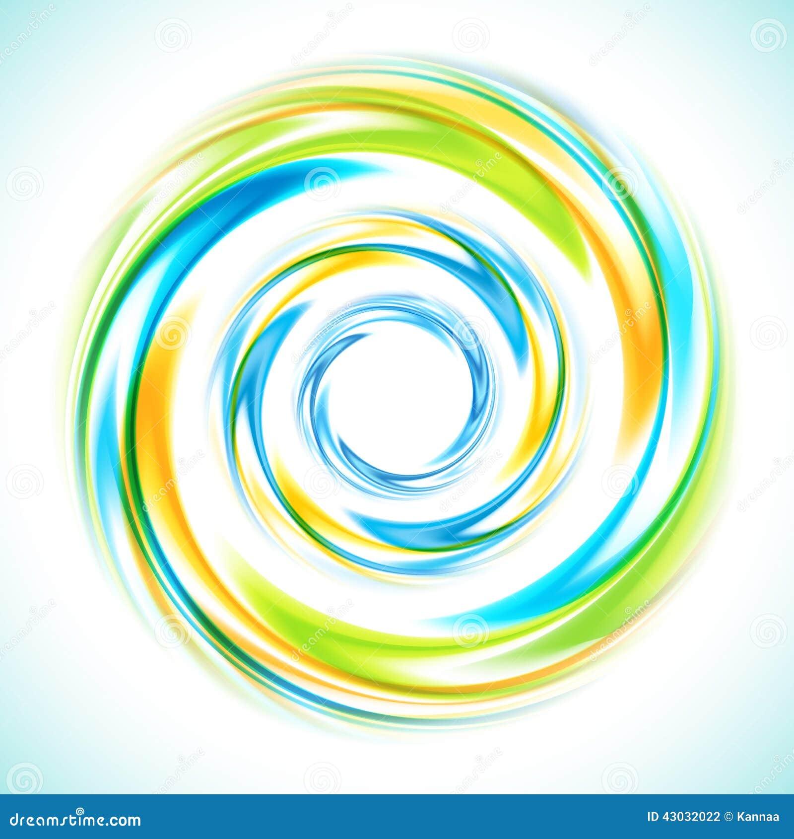 Círculo azul, verde y amarillo abstracto del remolino