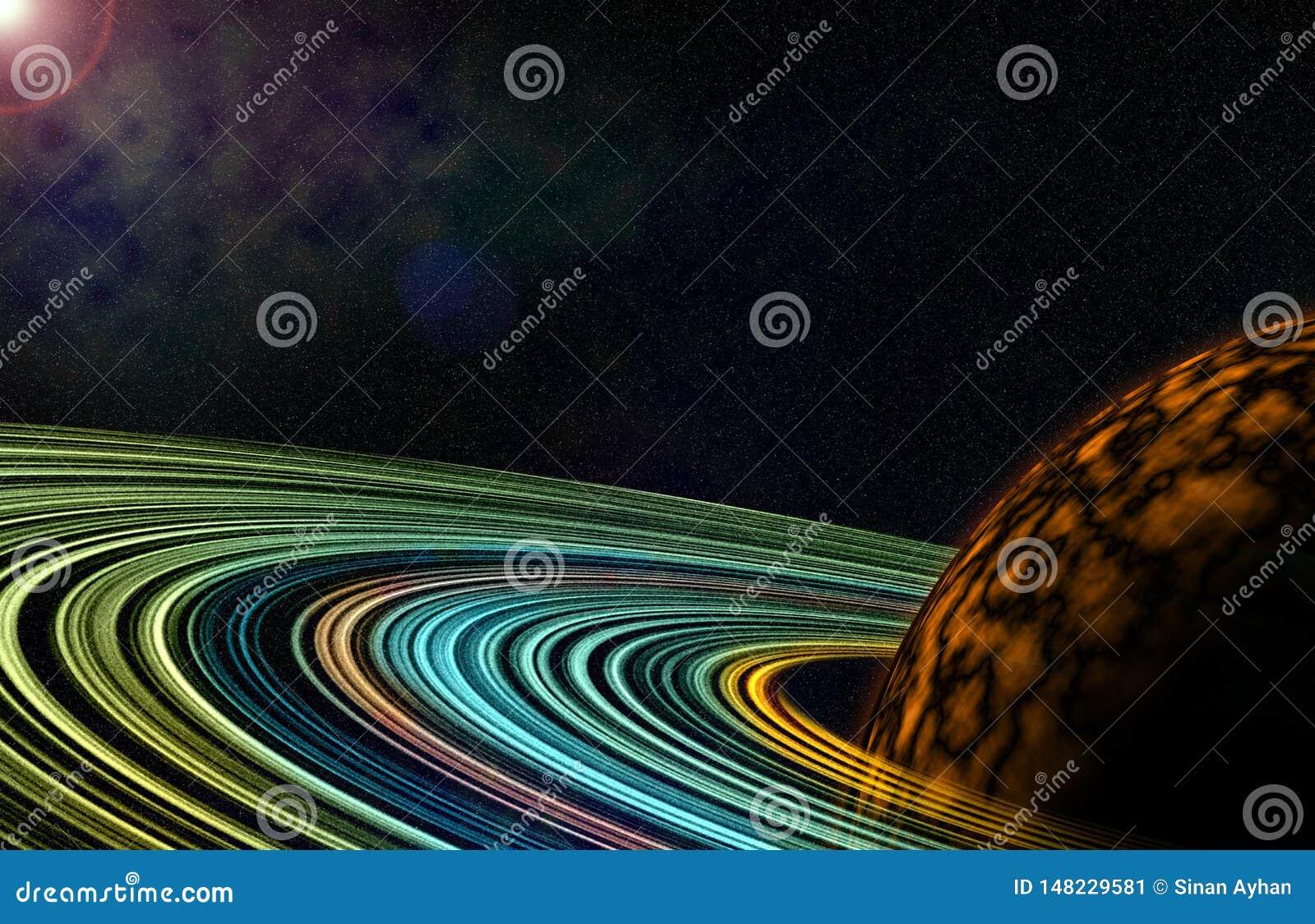 Círculo colorido brillante del cosmos con el ejemplo del planeta