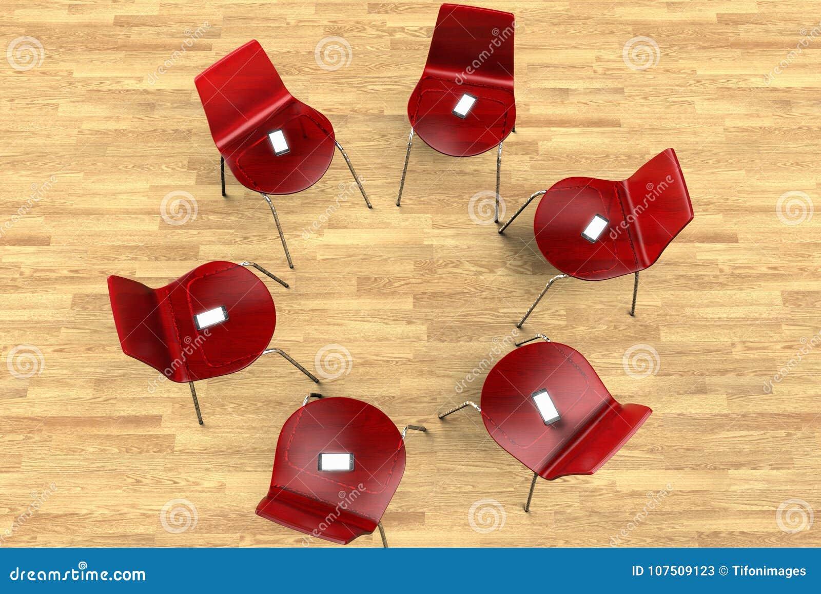 Círculo das cadeiras com smartphones