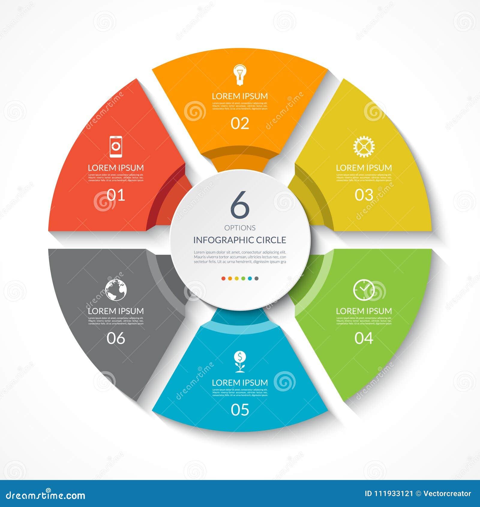 Círculo de Infographic Carta de processo Diagrama do vetor com 6 opções