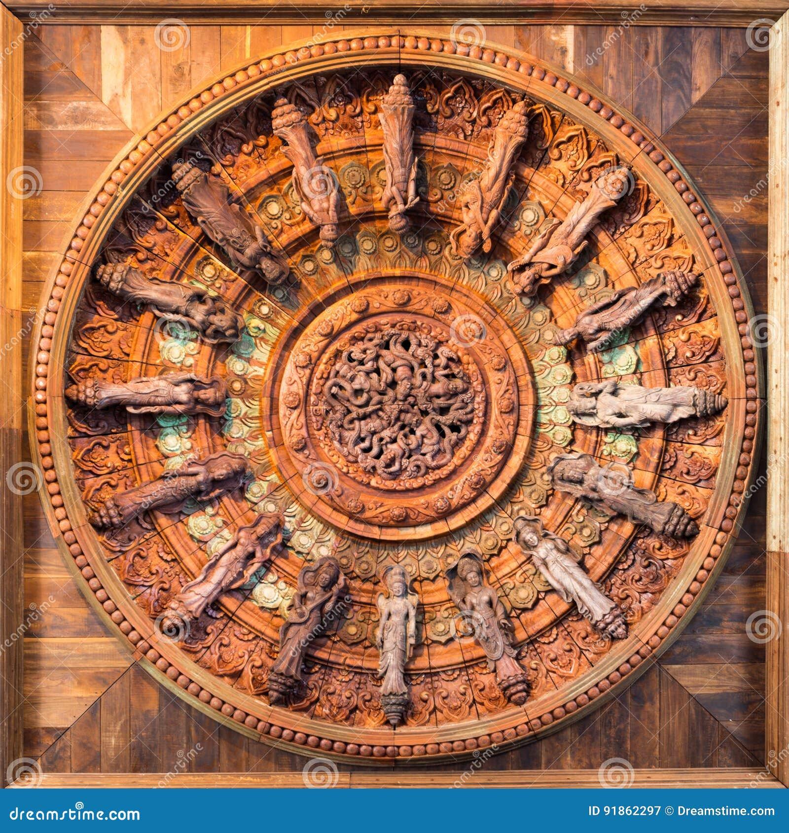 Círculo de madeira do símbolo da religião e da arte Pattaya tailândia