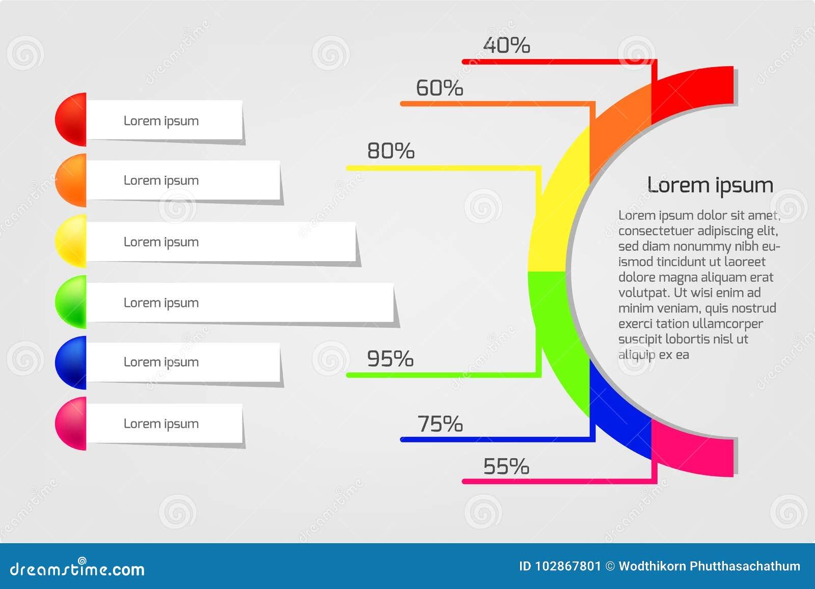 Círculo del infographics del negocio y ejemplo del vector de las banderas
