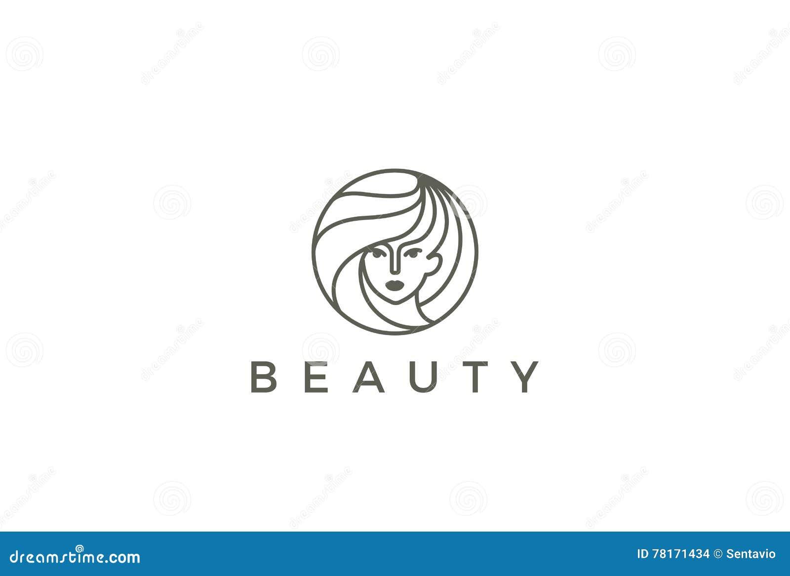 Círculo del vector del logotipo de la mujer del salón del peluquero de la belleza