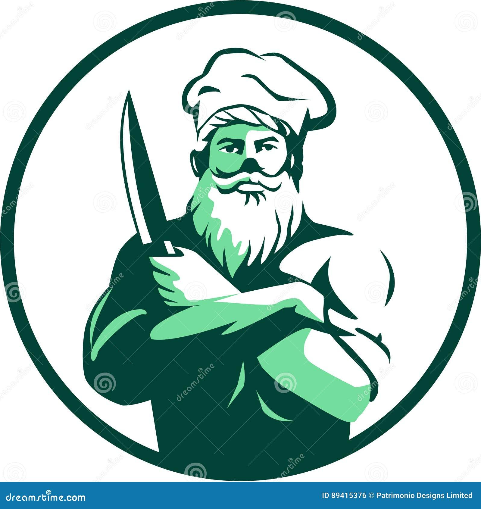 Círculo farpado de Arms Crossed Knife do cozinheiro chefe retro