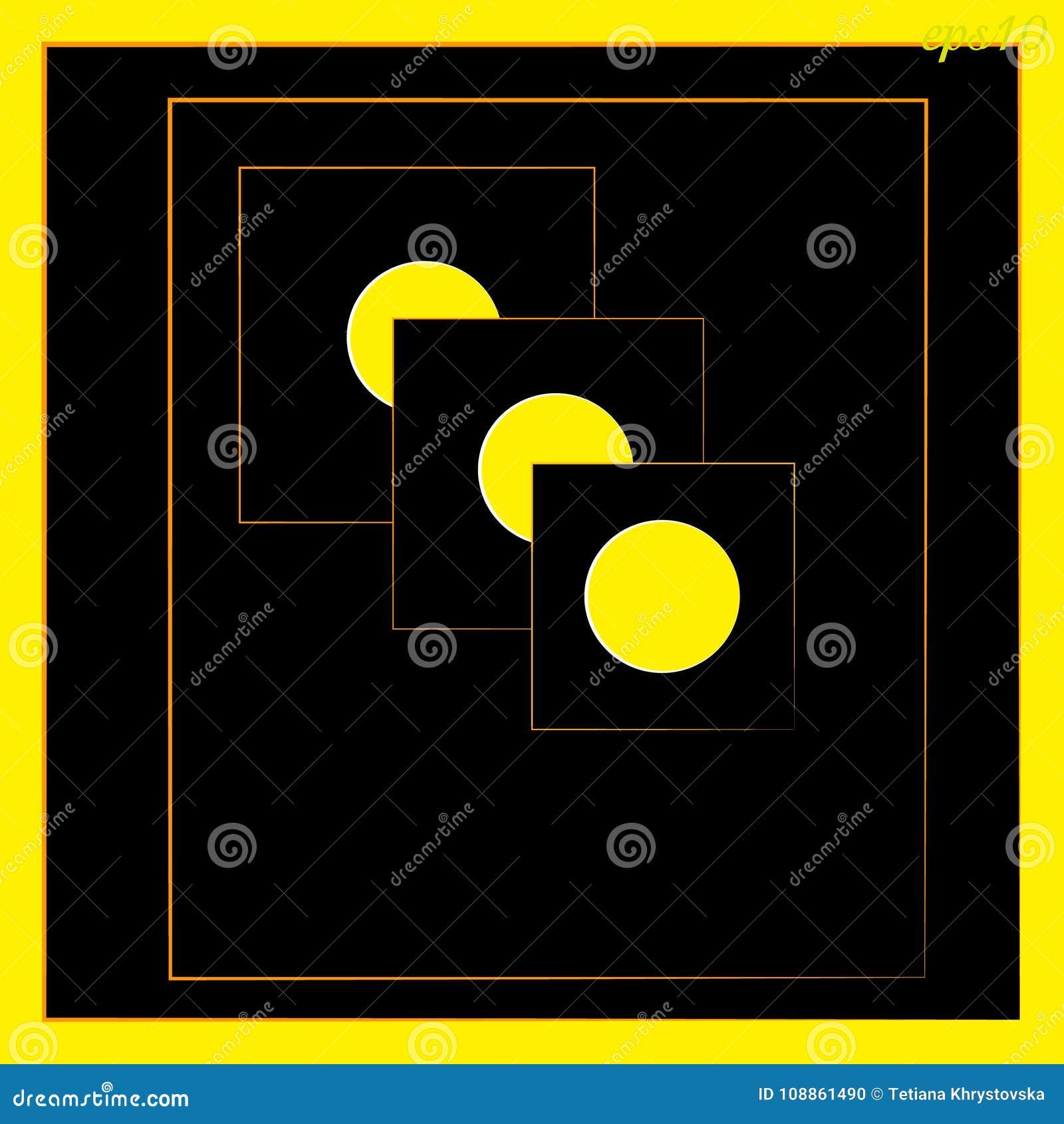 Círculo geométrico da abstração inscreido no preto e no amarelo quadrados da cor