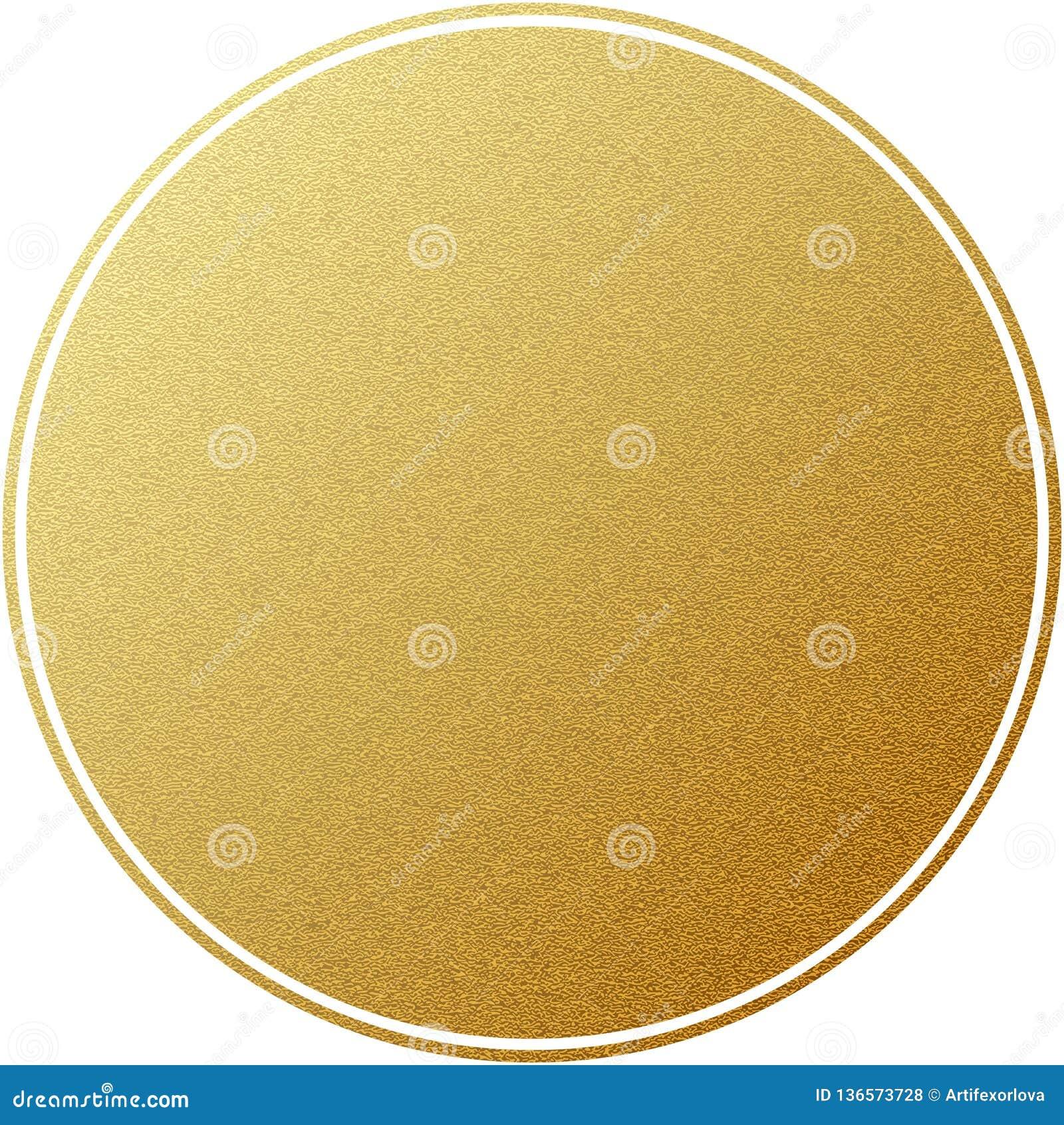 Círculo redondo da etiqueta dourada com a textura do brilho, isolada no branco Eps 10