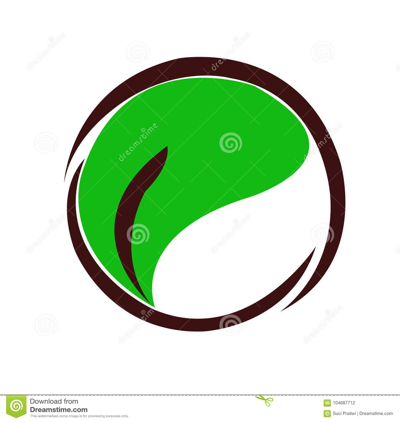 Círculo y hojas del logotipo