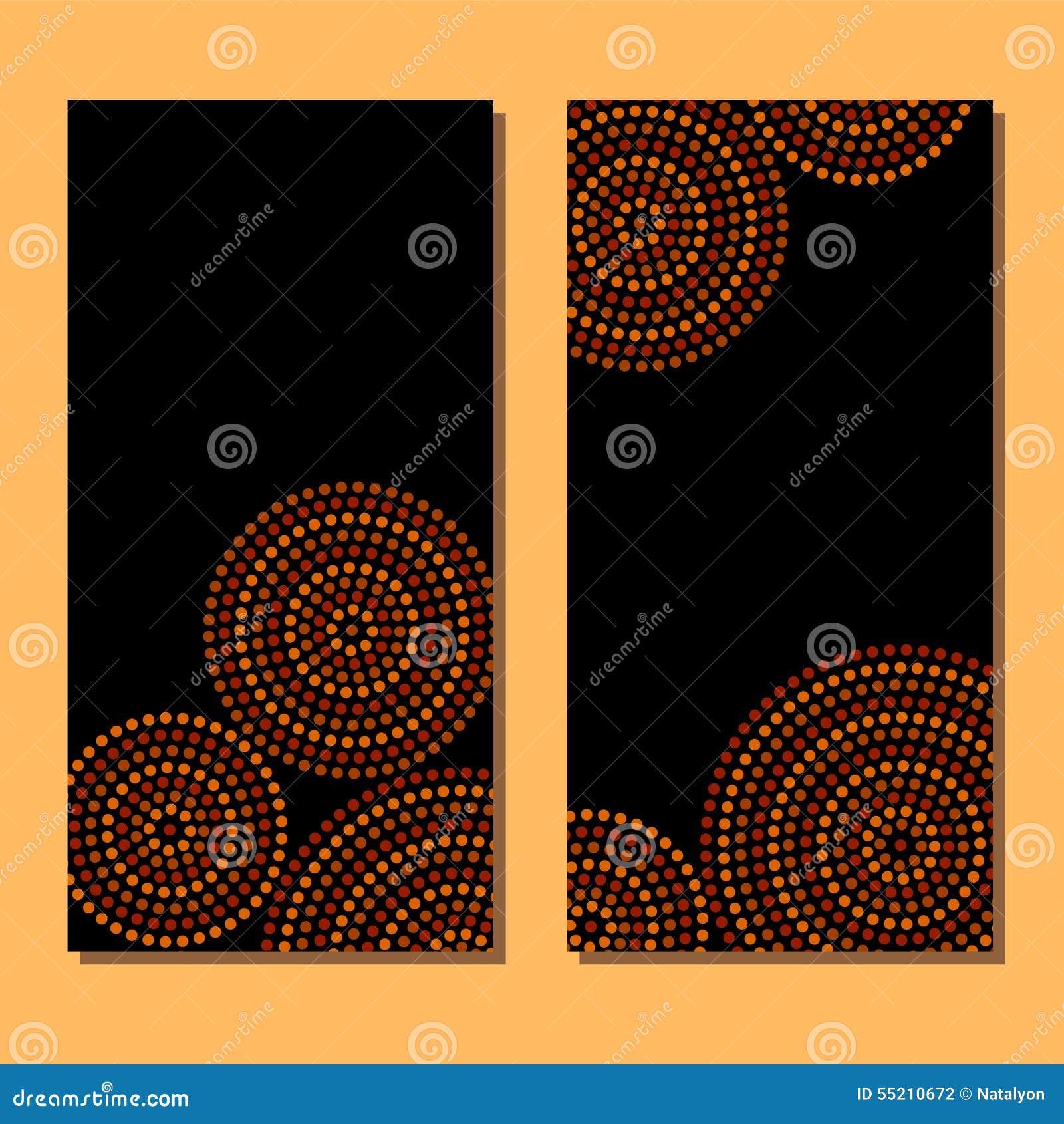 Círculos concéntricos del arte geométrico aborigen australiano en marrón y negro anaranjados, sistema de dos tarjetas, vector