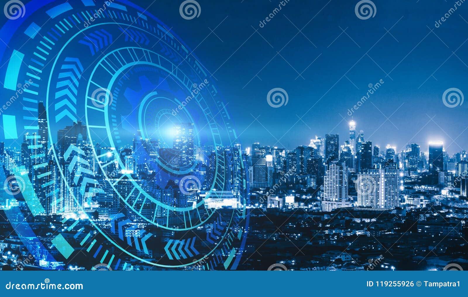 Círculos espertos da cidade e da tecnologia Projeto gráfico em Banguecoque