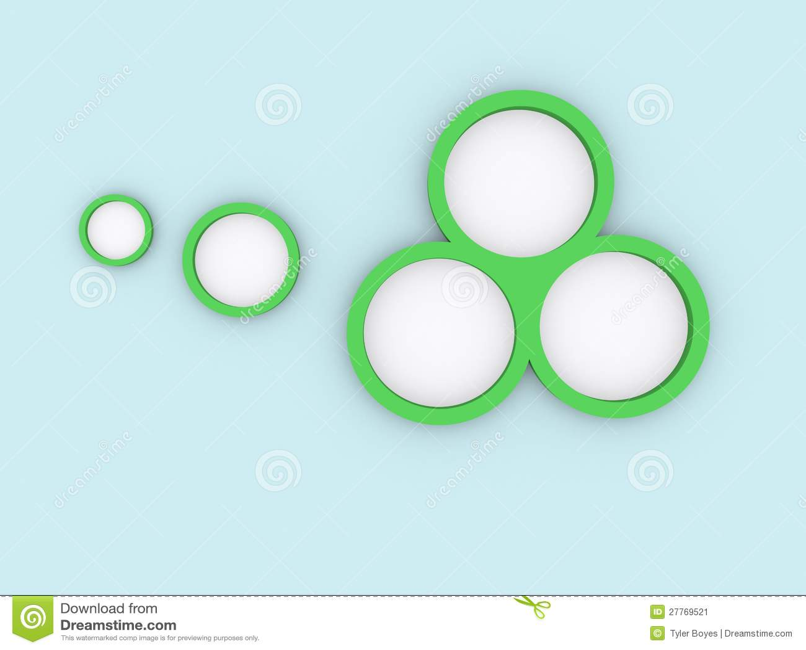 Círculos verdes no azul