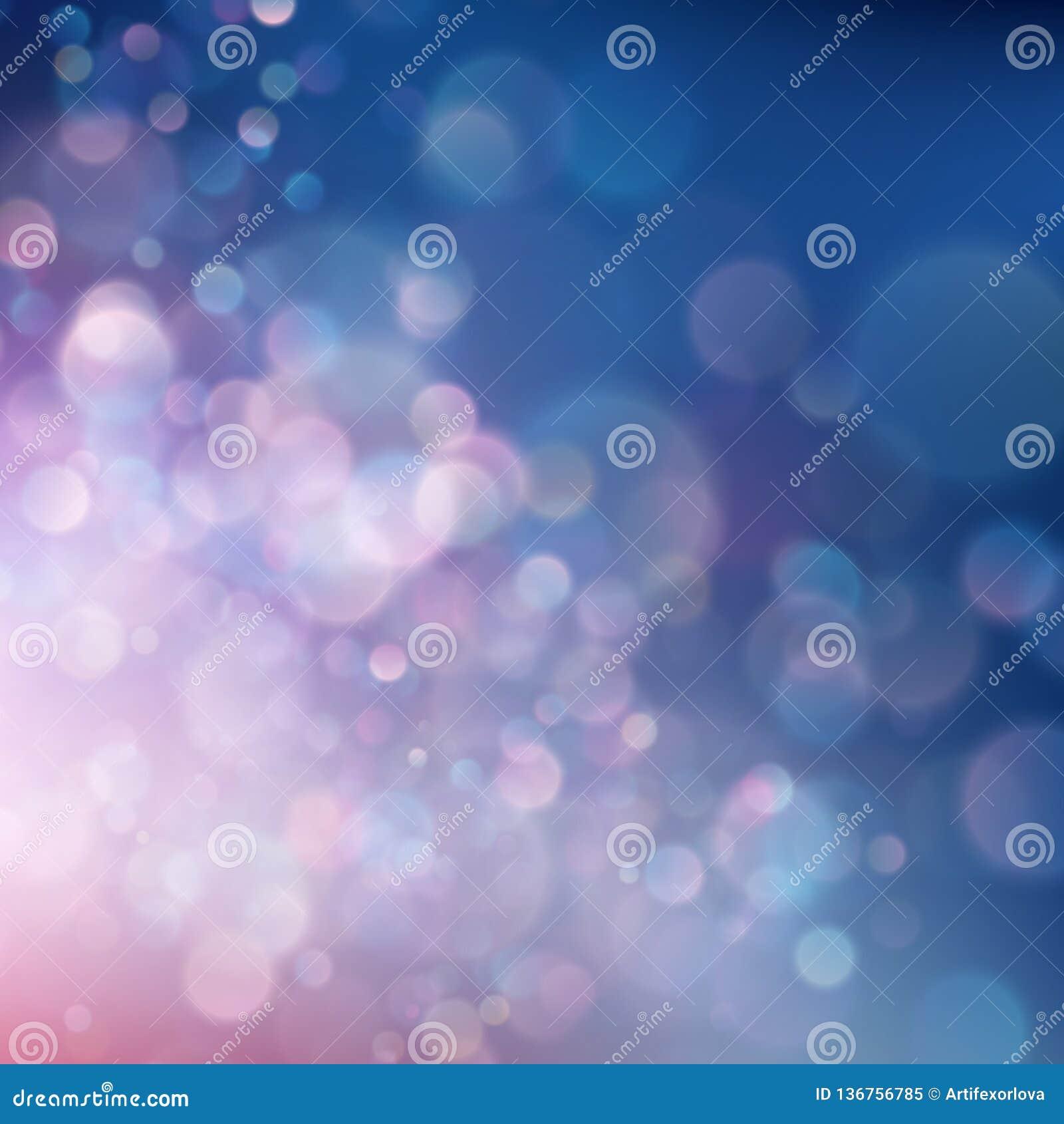 Círculos vivos abstractos coloridos del bokeh de la falta de definición en fondo suave del estilo del color Plantilla rosada azul