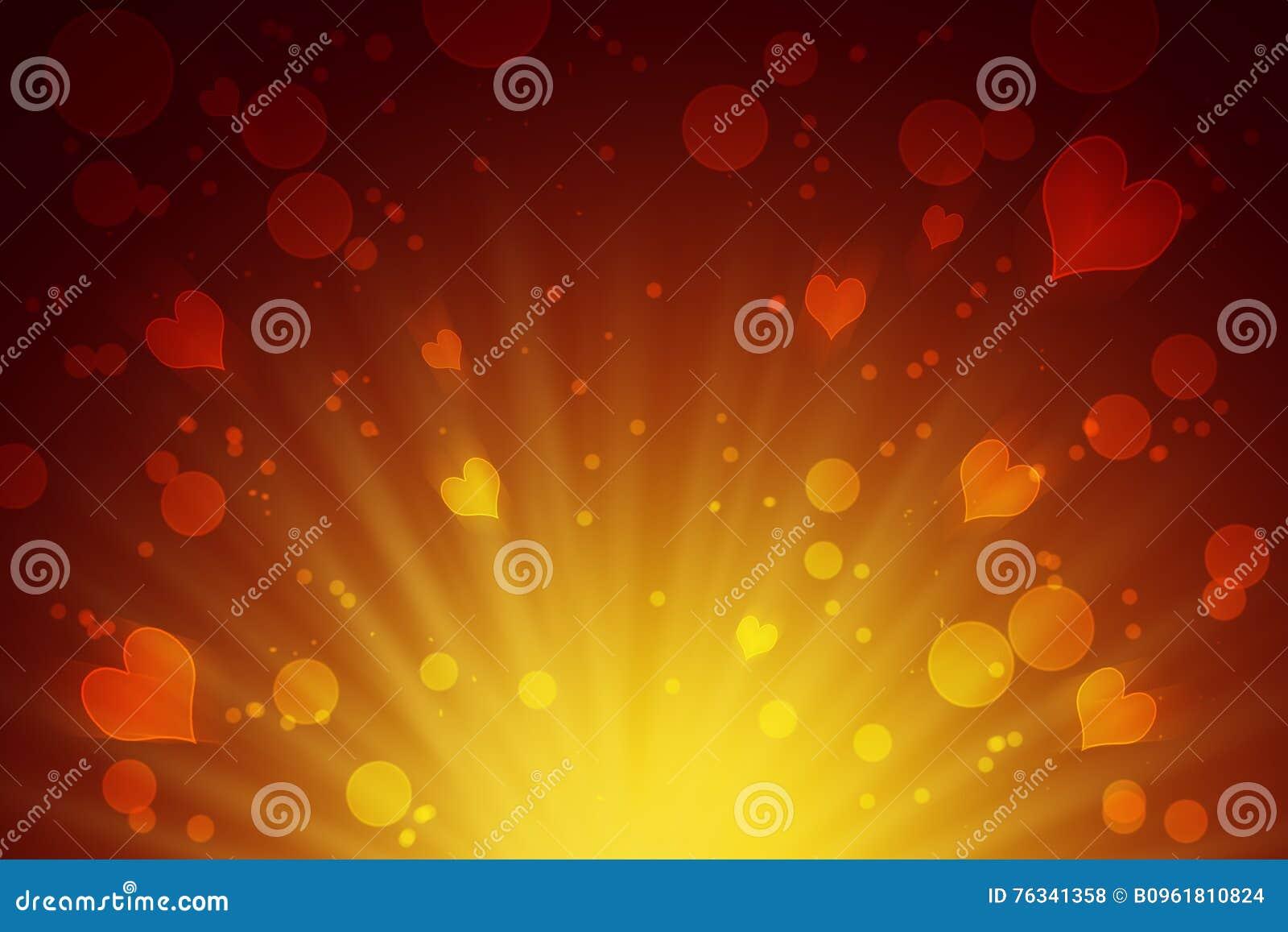 Círculos y fondo abstracto amarillo de los corazones celebración Amor