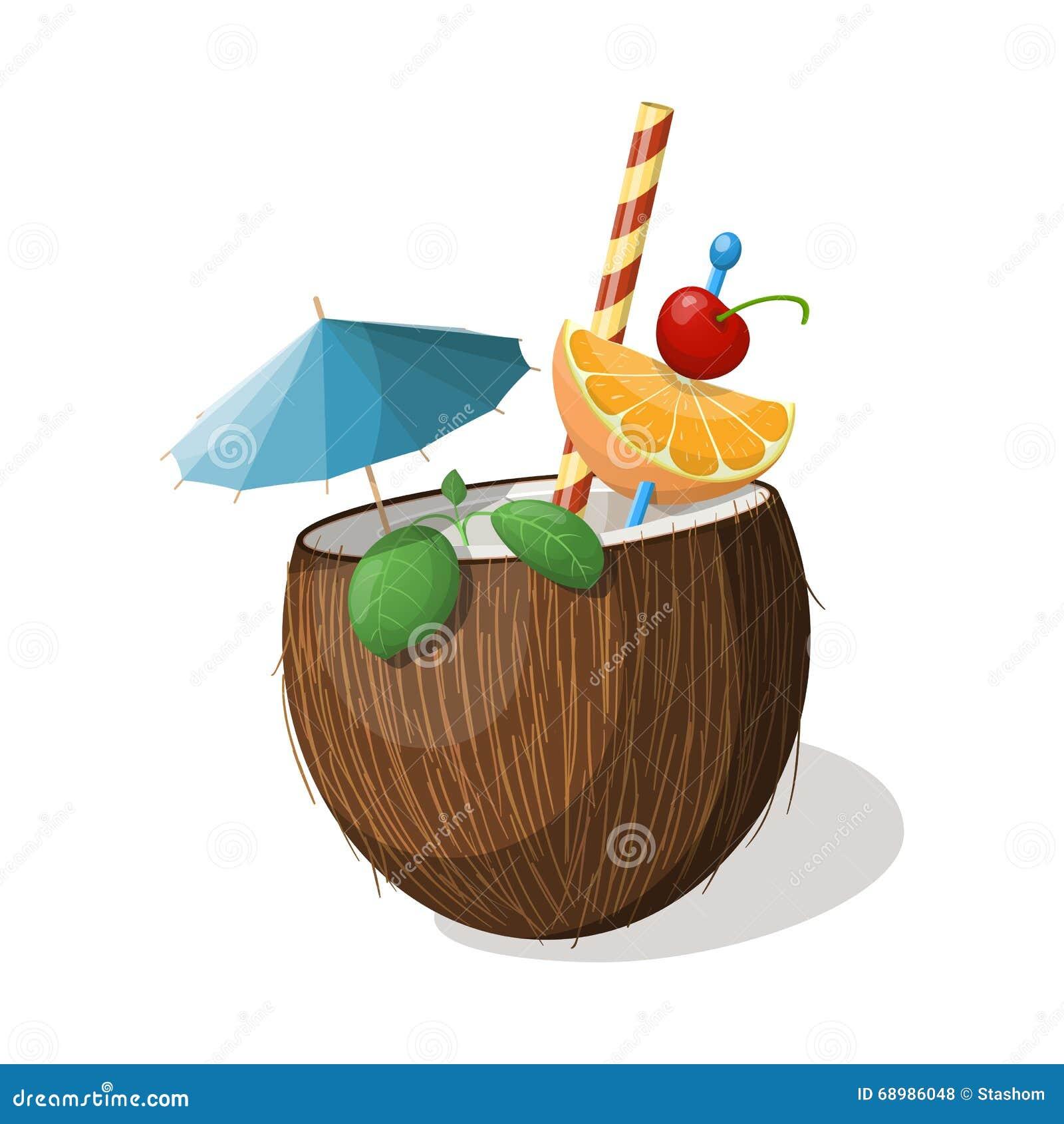 Cóctel exótico del coco en blanco