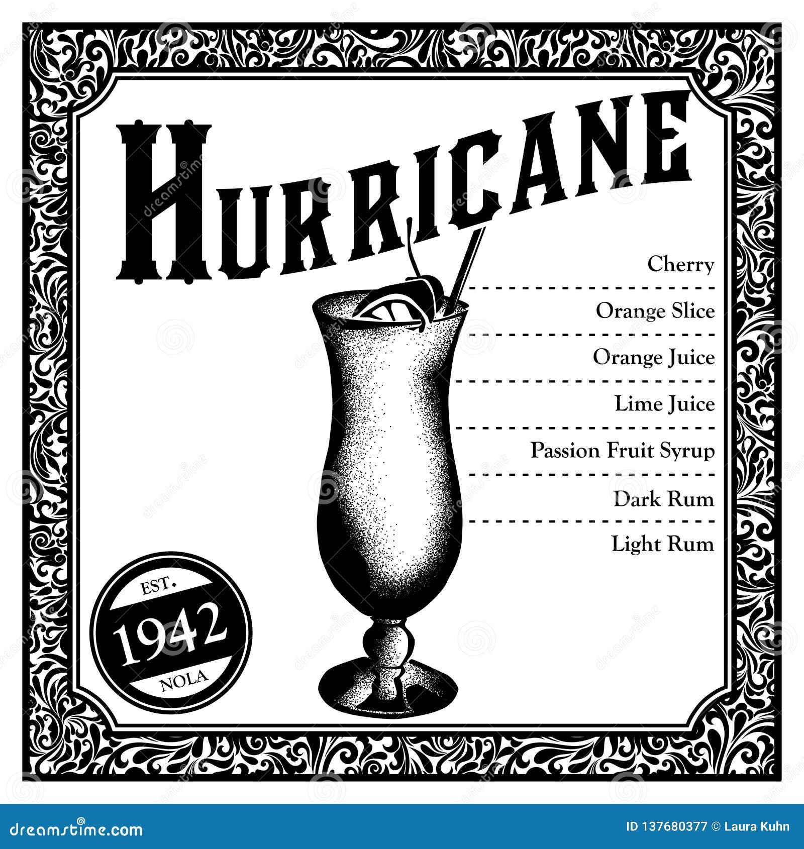 Cóctel histórico de New Orleans el huracán