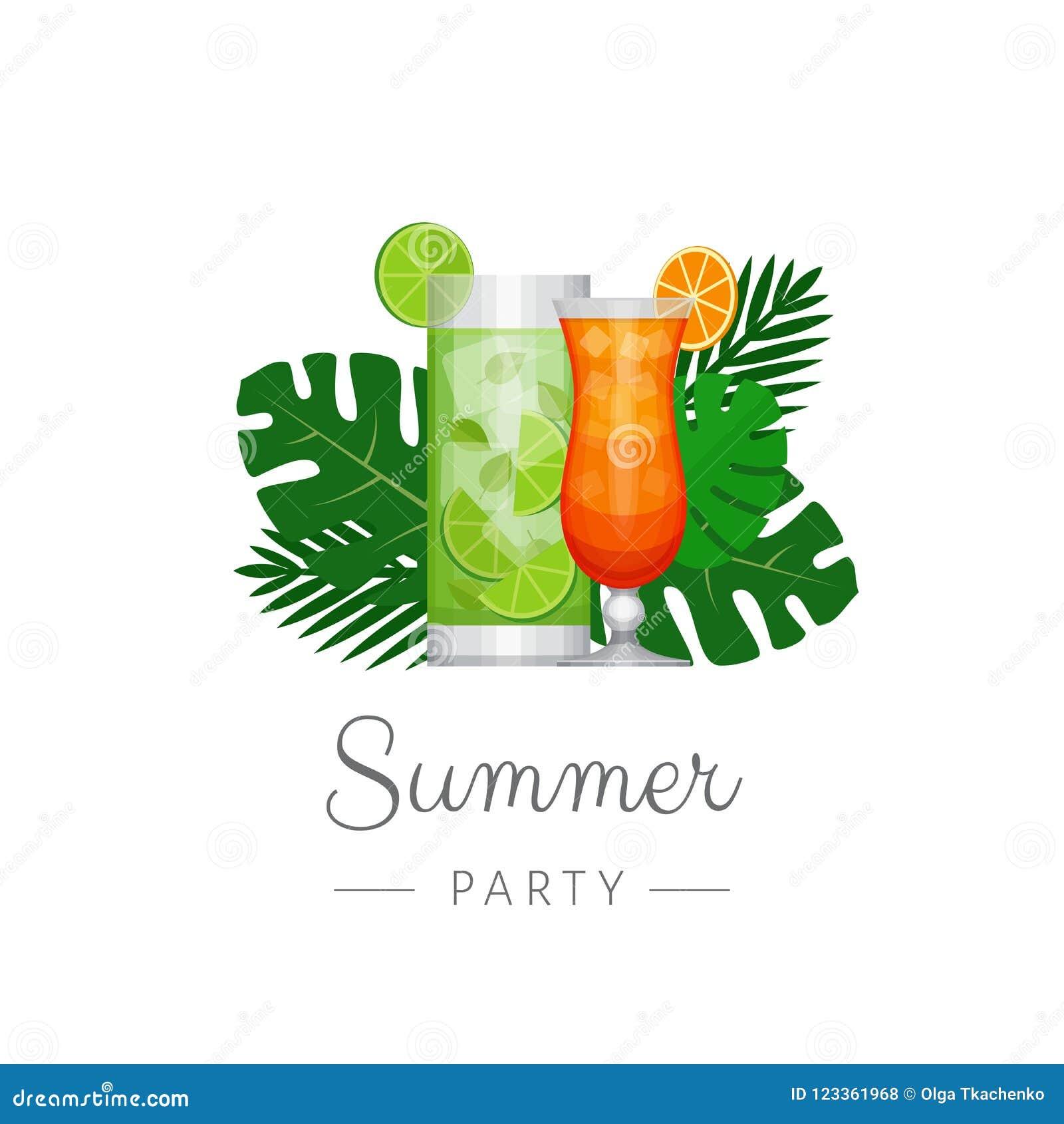 Cóctel tropical del verano con las hojas de palma Cartel del cóctel