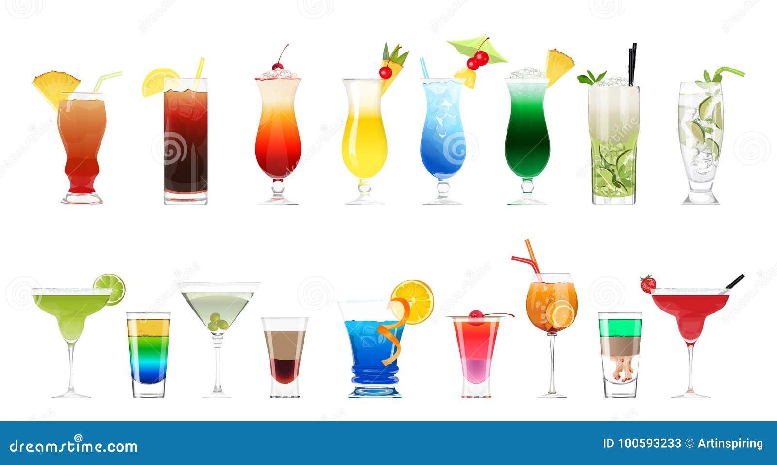 Cócteles del alcohol fijados
