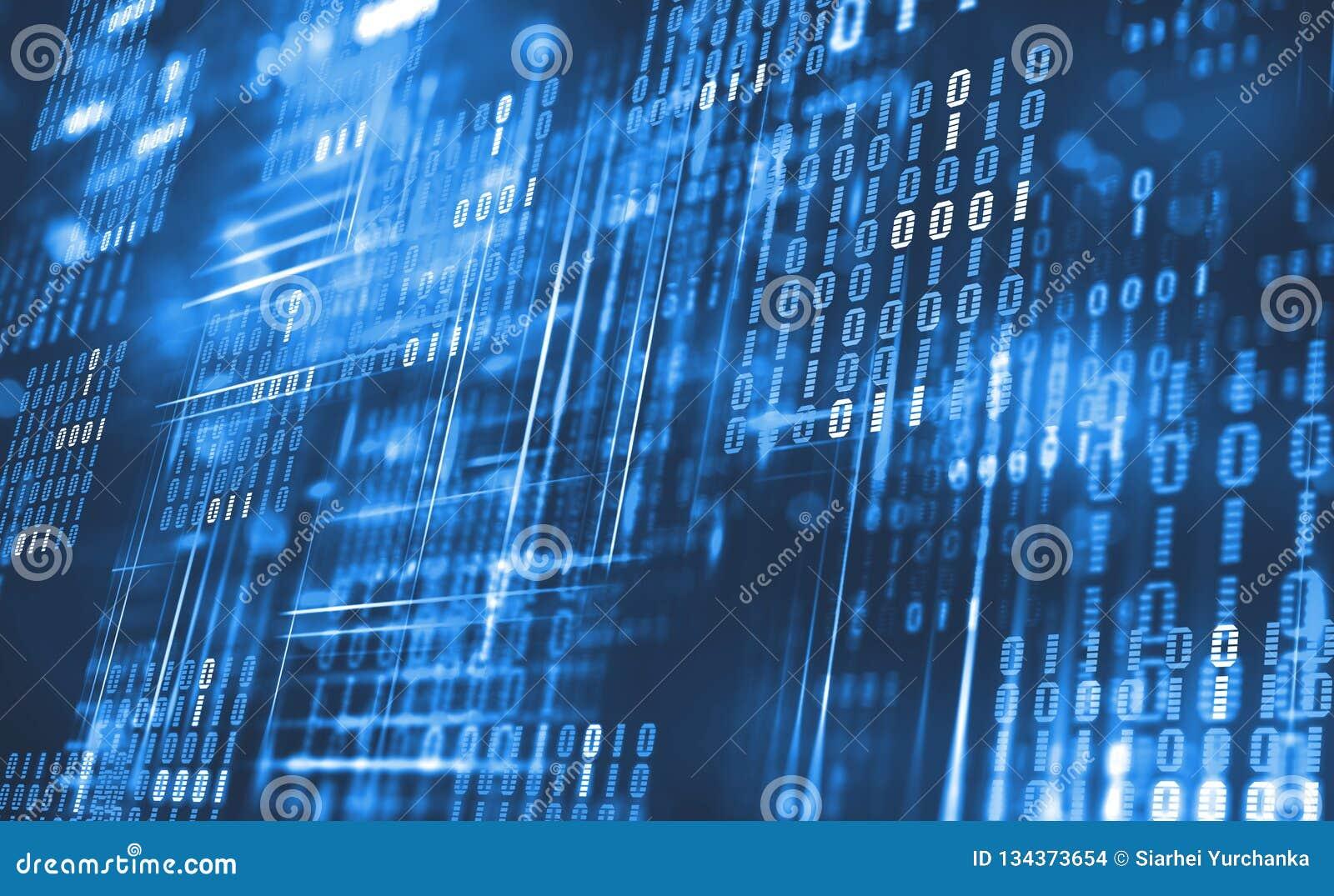 Código binario abstracto Datos de la nube Tecnología de Blockchain Ciberespacio de Digitaces