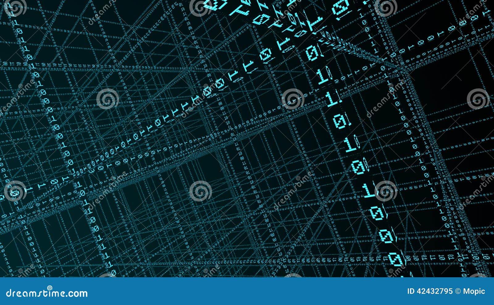 Código binario 3D que forma una red
