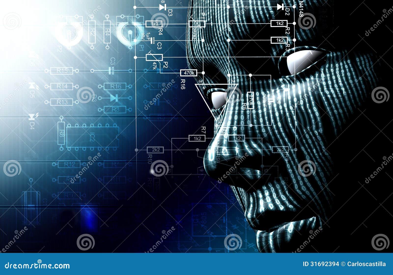 Código binario y cara