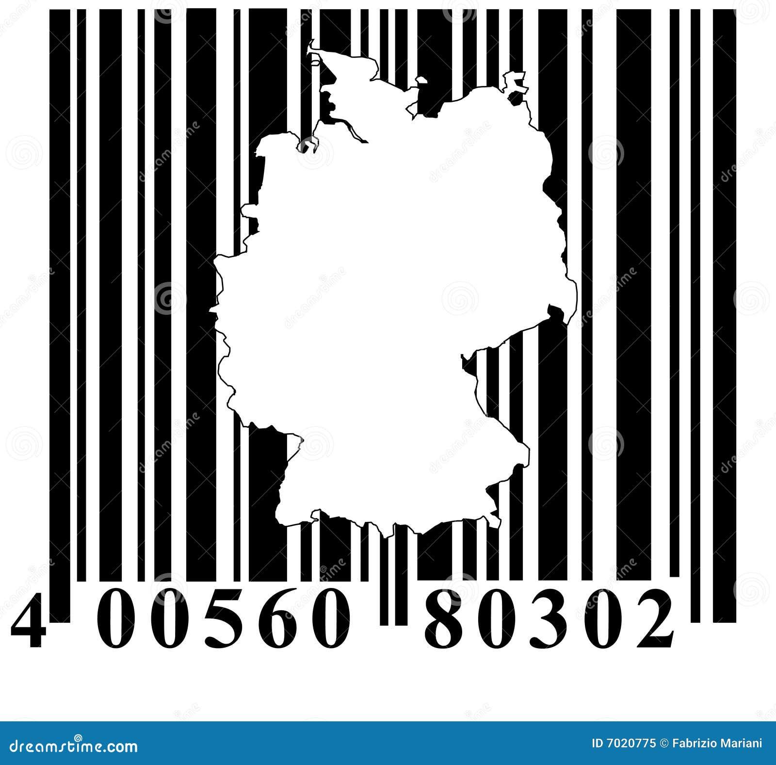 Código de barras com esboço de Alemanha