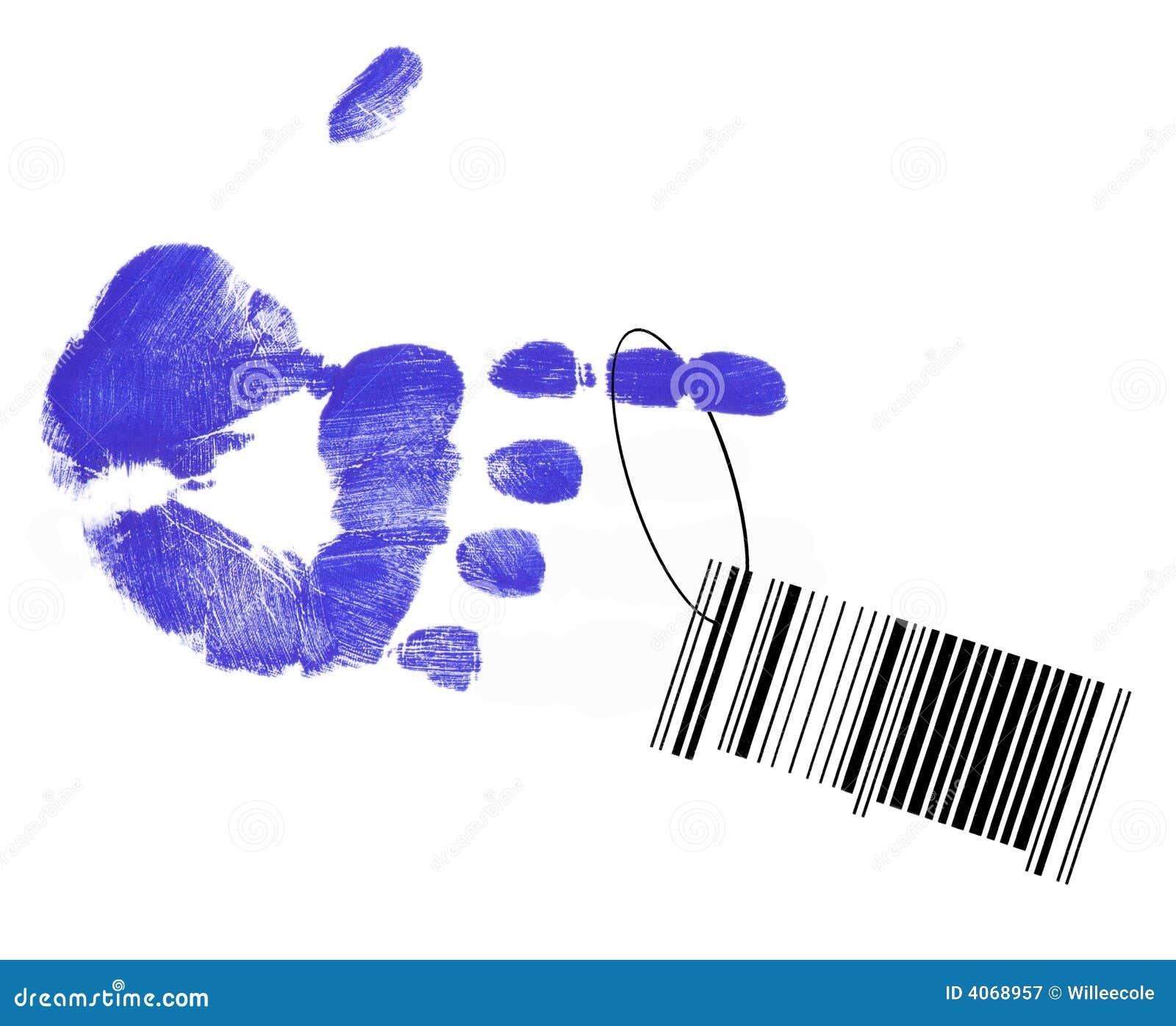 Código de barras que cuelga de la mano