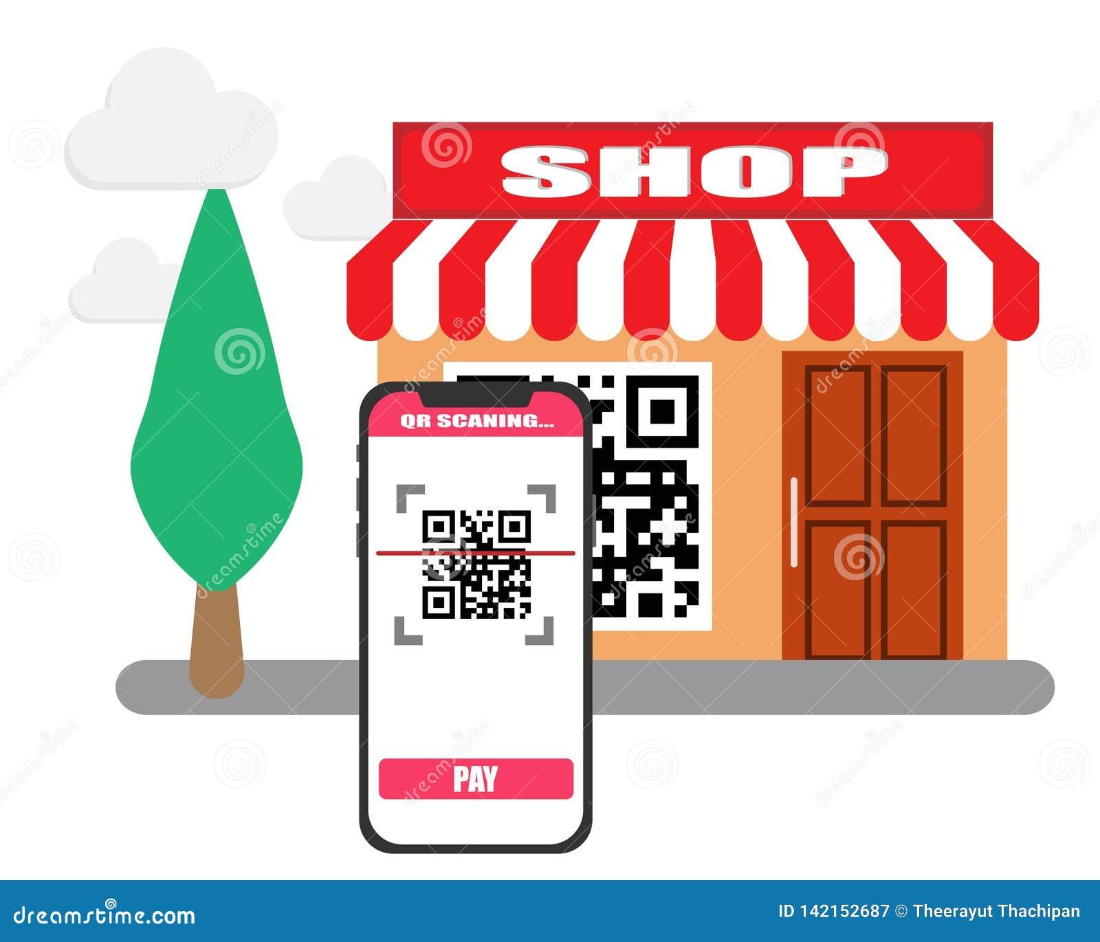 Código de la exploración QR con el teléfono móvil en el pago