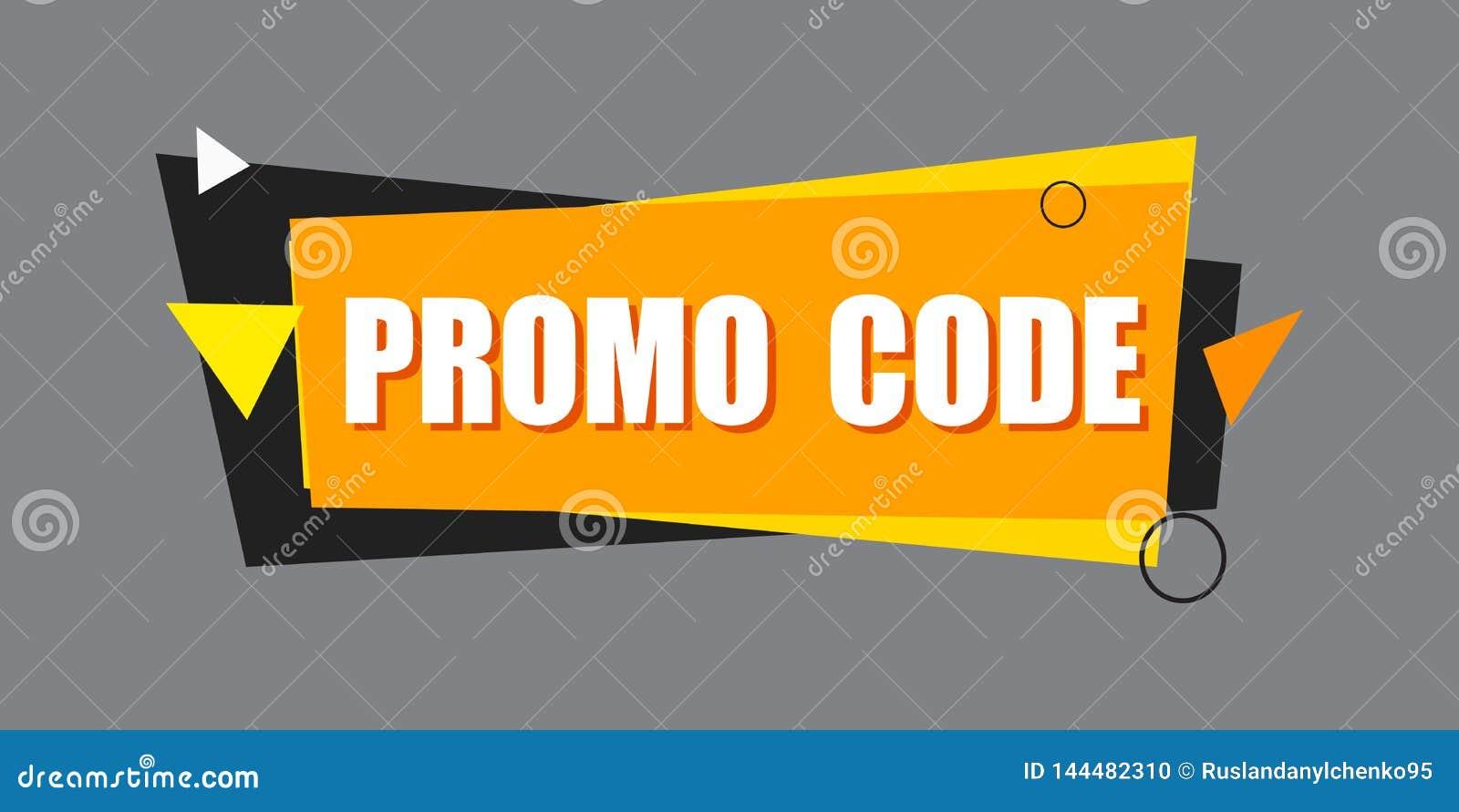 Código del promo, código de la cupón Ejemplo plano del diseño determinado del vector en el fondo blanco