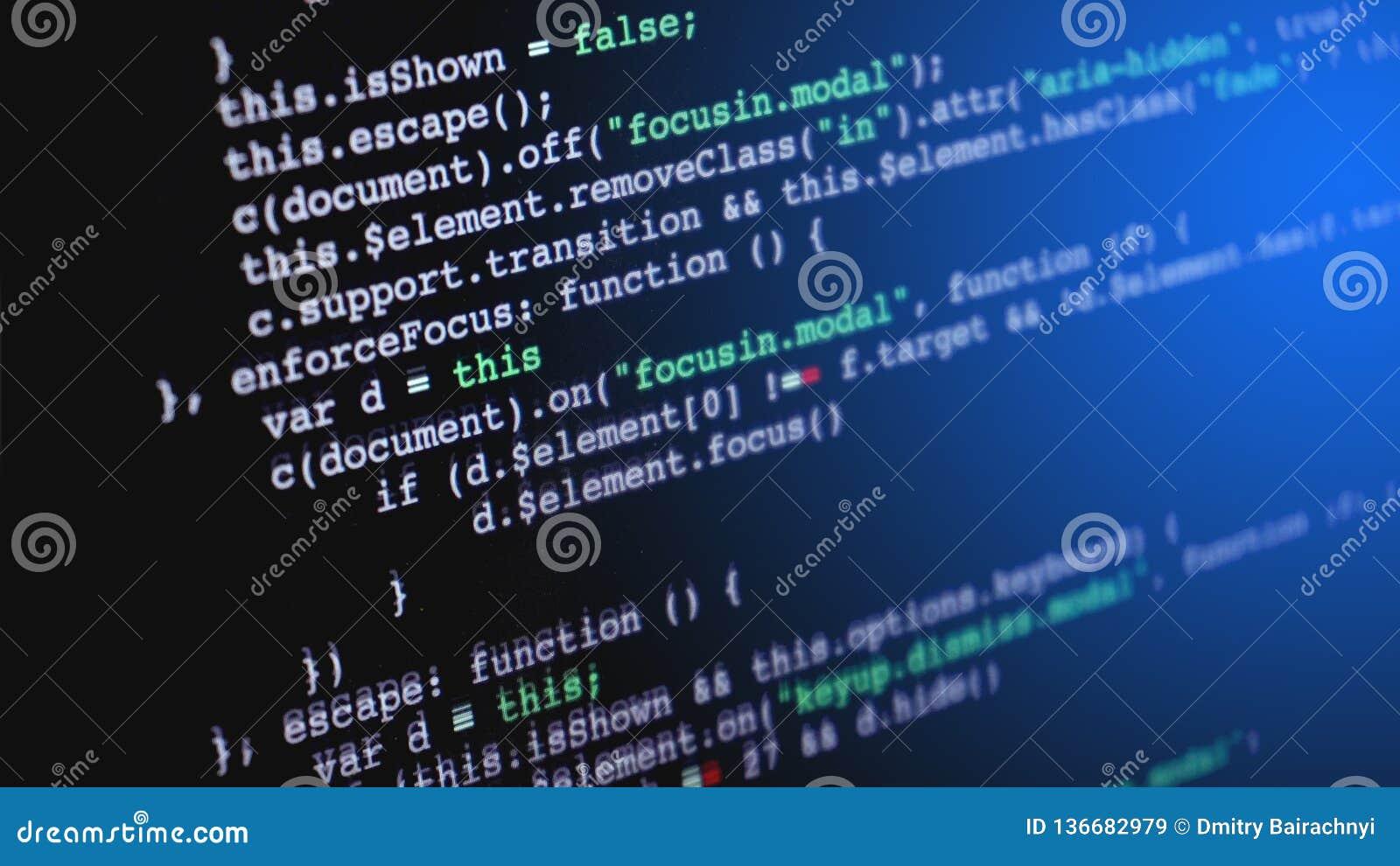 Código fuente que programa en la pantalla del ordenador