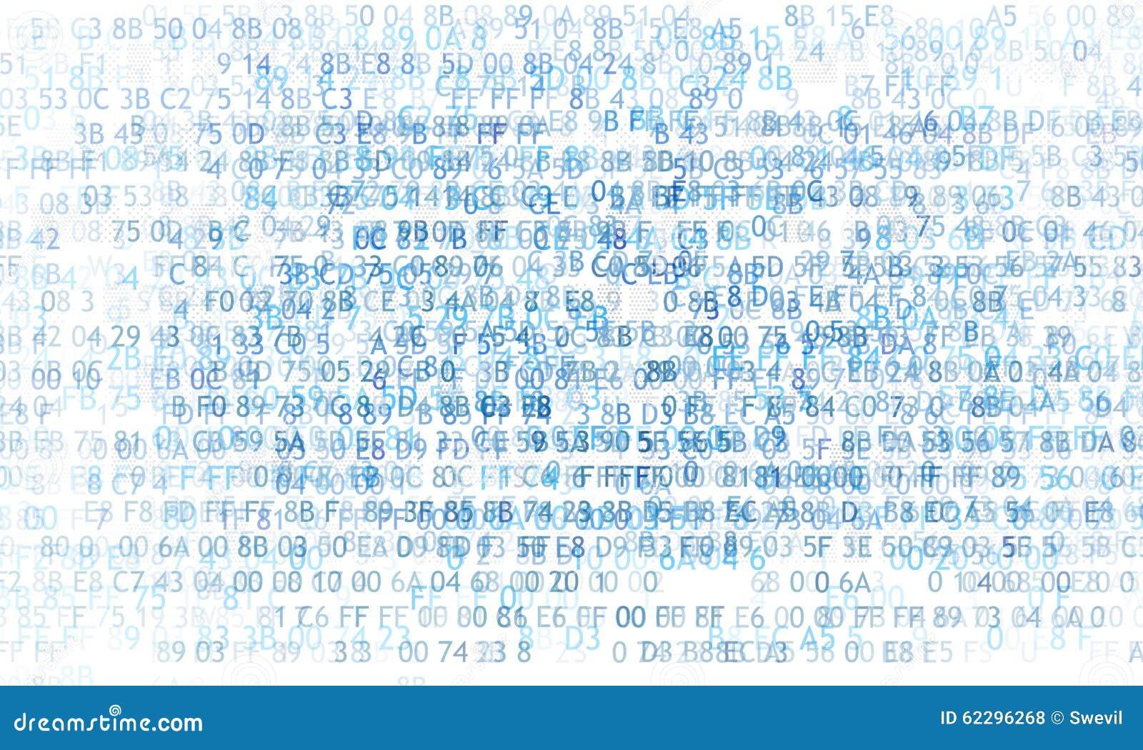 Código hexadecimal que funciona con para arriba una pantalla de ordenador en fondo negro Dígitos azules