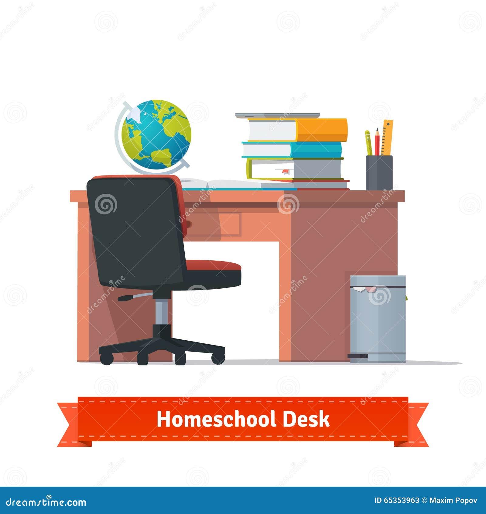 Cómodo enseñe en casa el lugar de trabajo con el escritorio