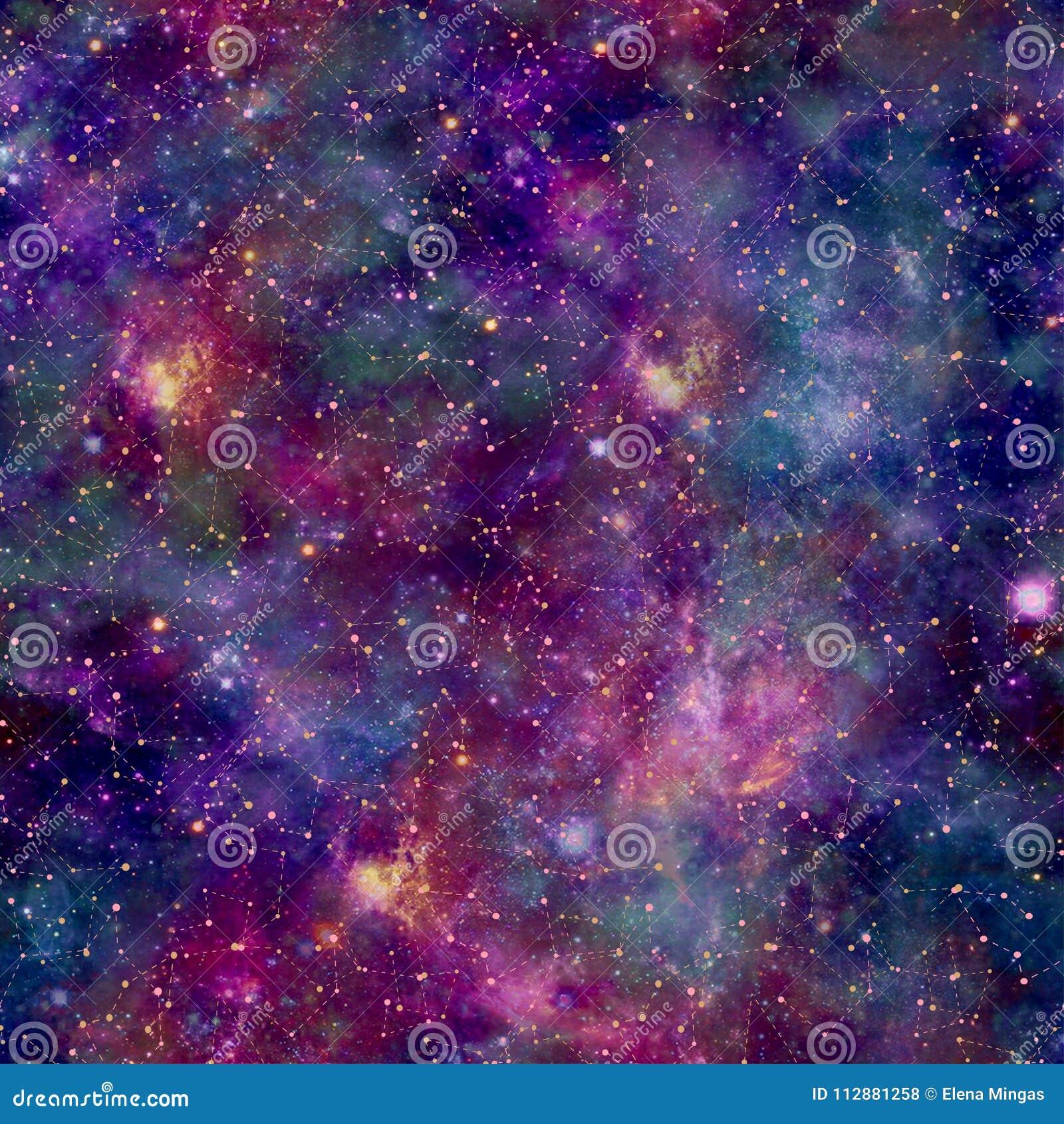 Cópia colorida do cosmos da galáxia com folha de prova da constelação